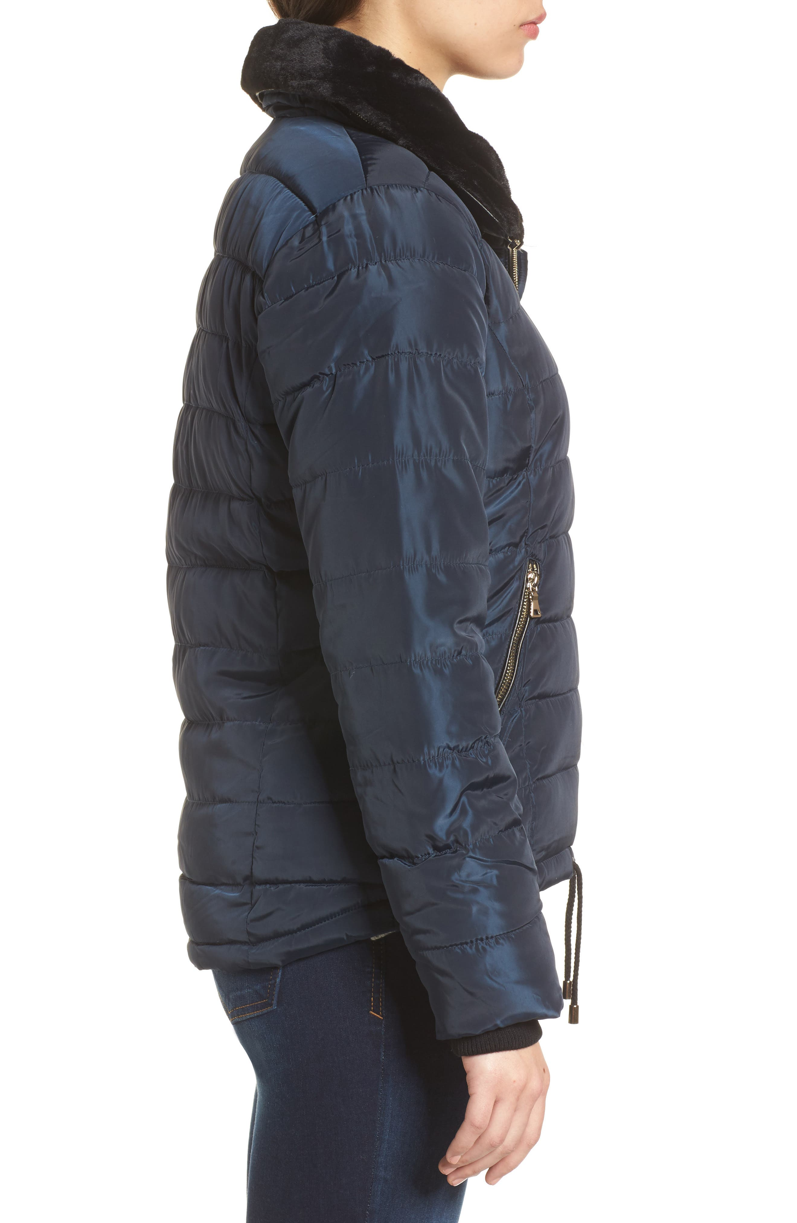 Puffer Jacket with Faux Fur Collar Lining,                             Alternate thumbnail 3, color,                             Navy Blue