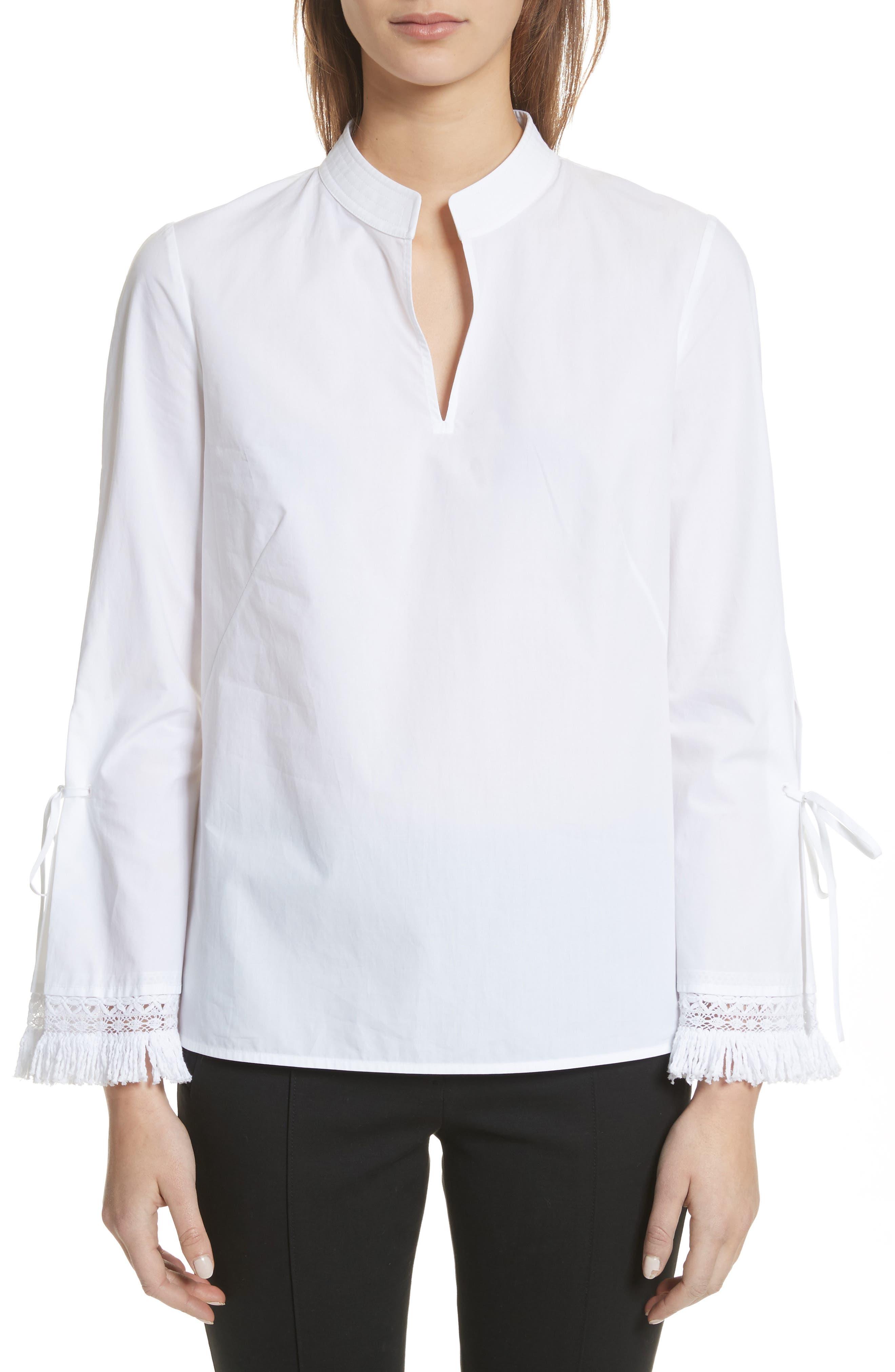 Sophie Tie Sleeve Cotton Blouse,                             Main thumbnail 1, color,                             White