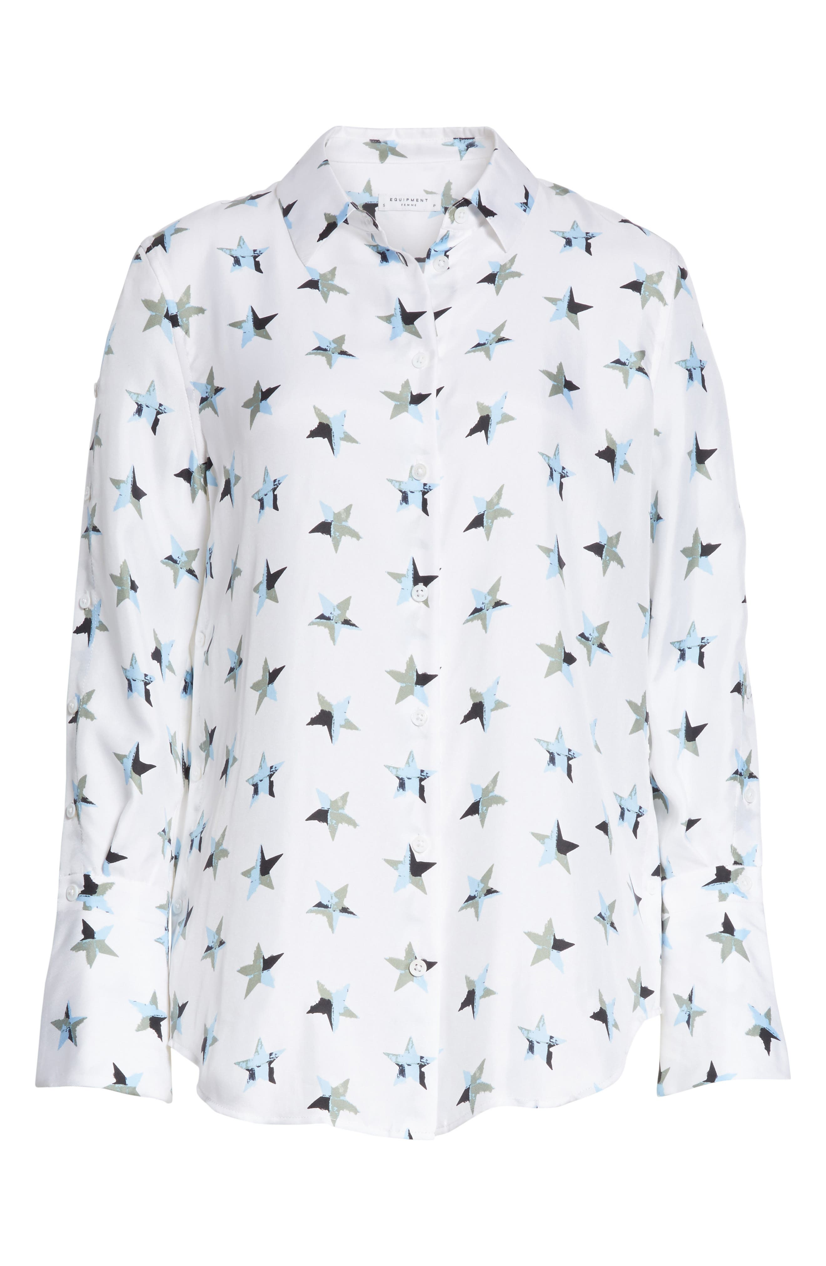 Rossi Button Detail Star Print Silk Shirt,                             Alternate thumbnail 6, color,                             Bright White Multi