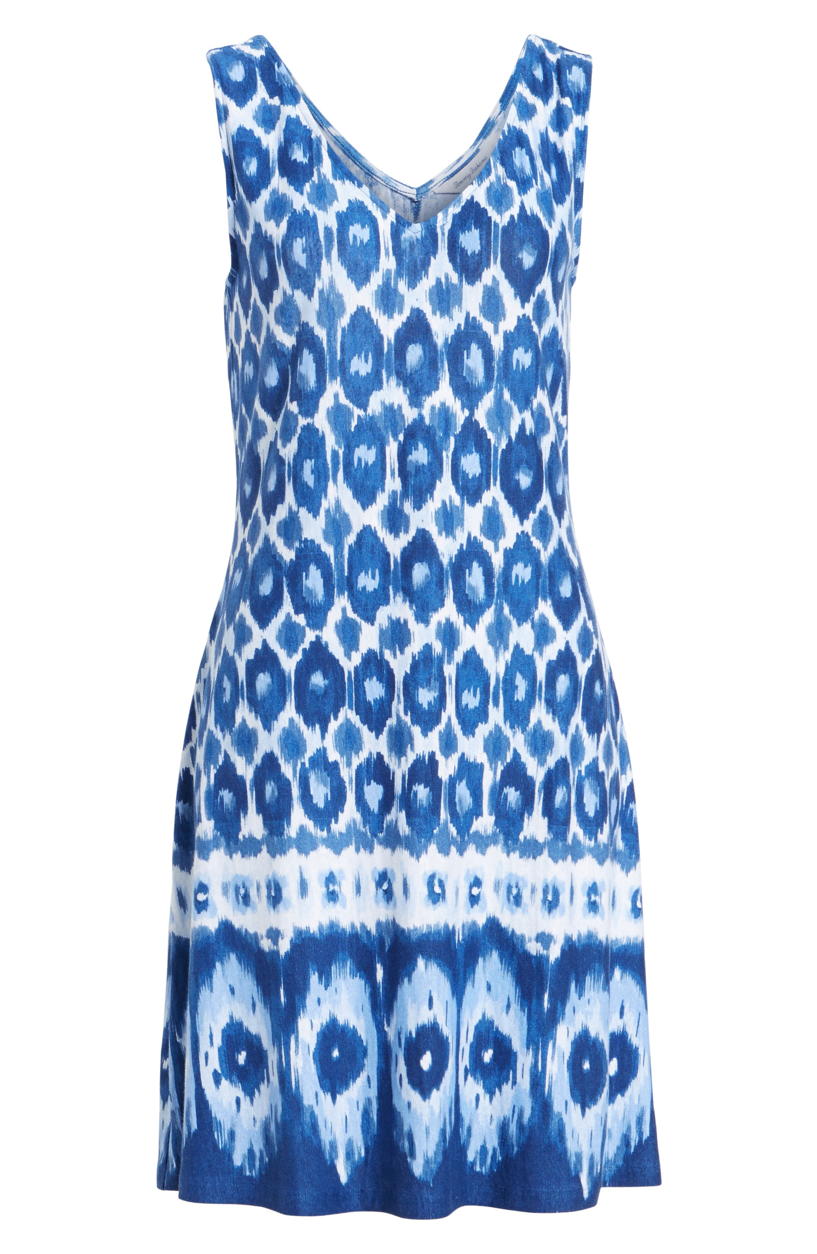 Innercoastal Ikat Sleeveless Dress,                             Alternate thumbnail 6, color,                             Kingdom Blue