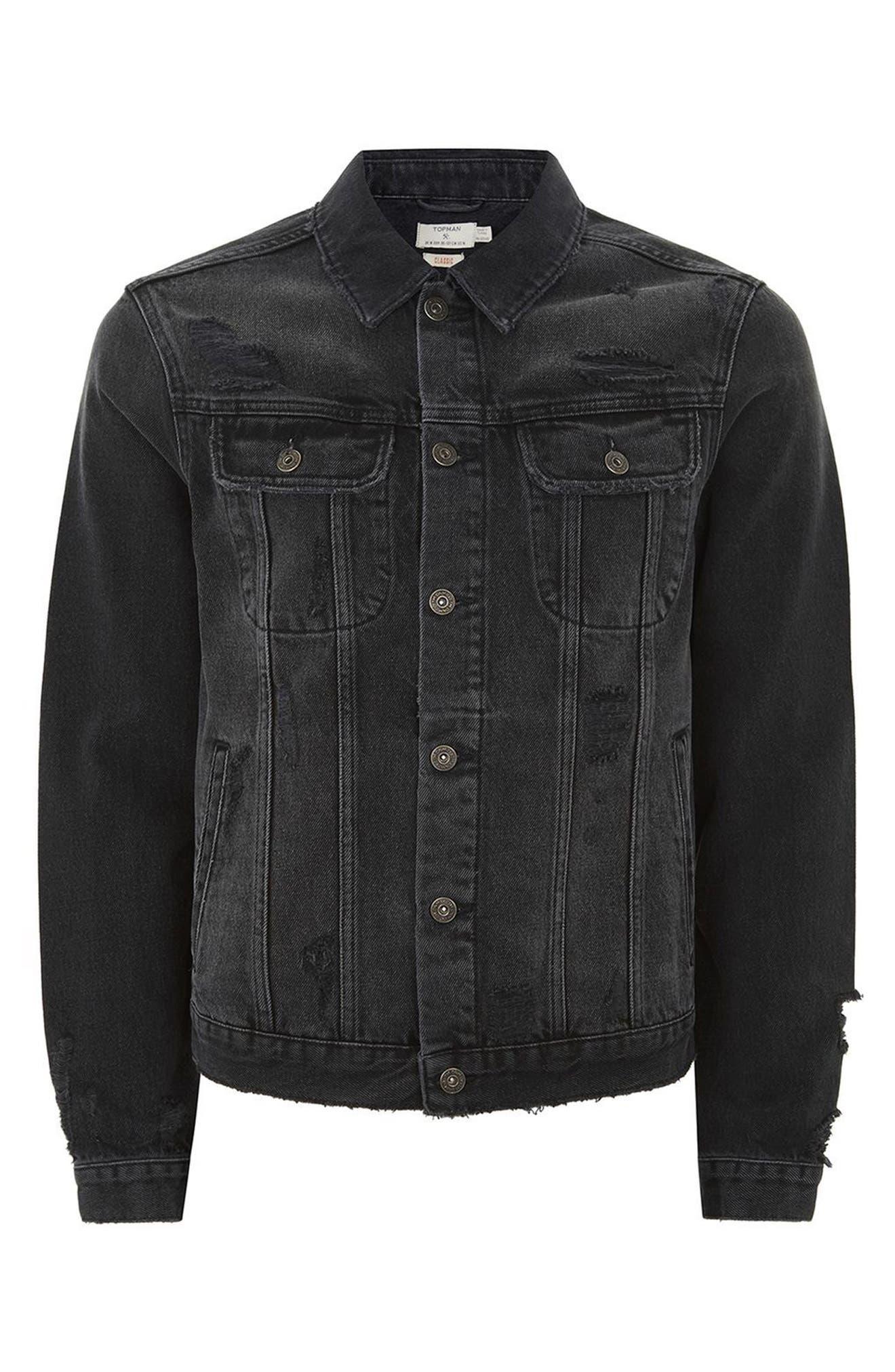 Alternate Image 4  - Topman Piro Distressed Denim Jacket