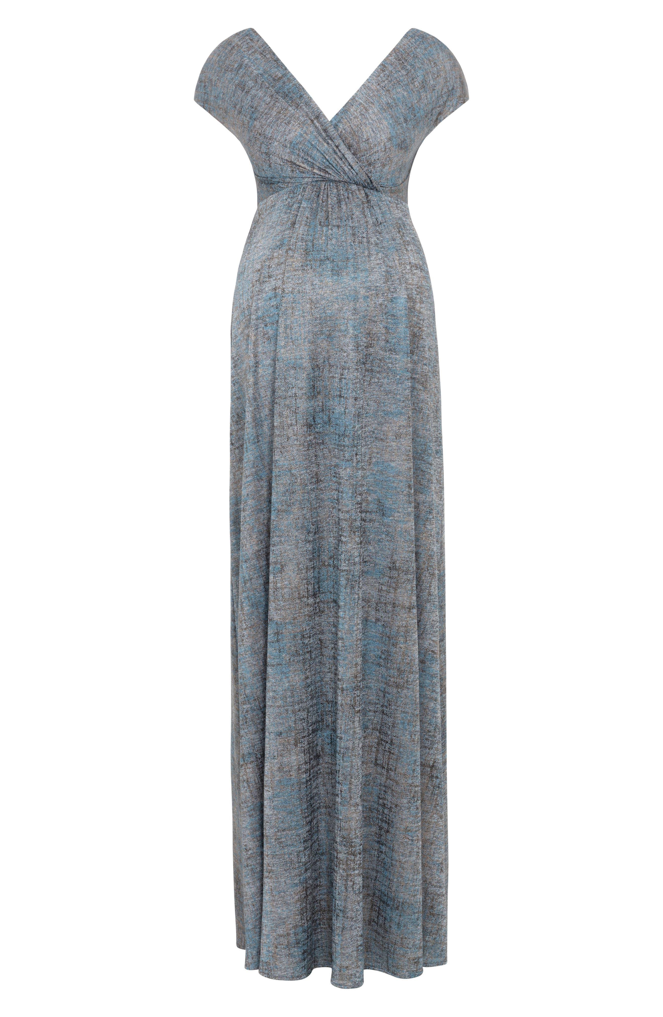 Francesca Maternity Gown,                             Alternate thumbnail 4, color,                             Bronze Blue