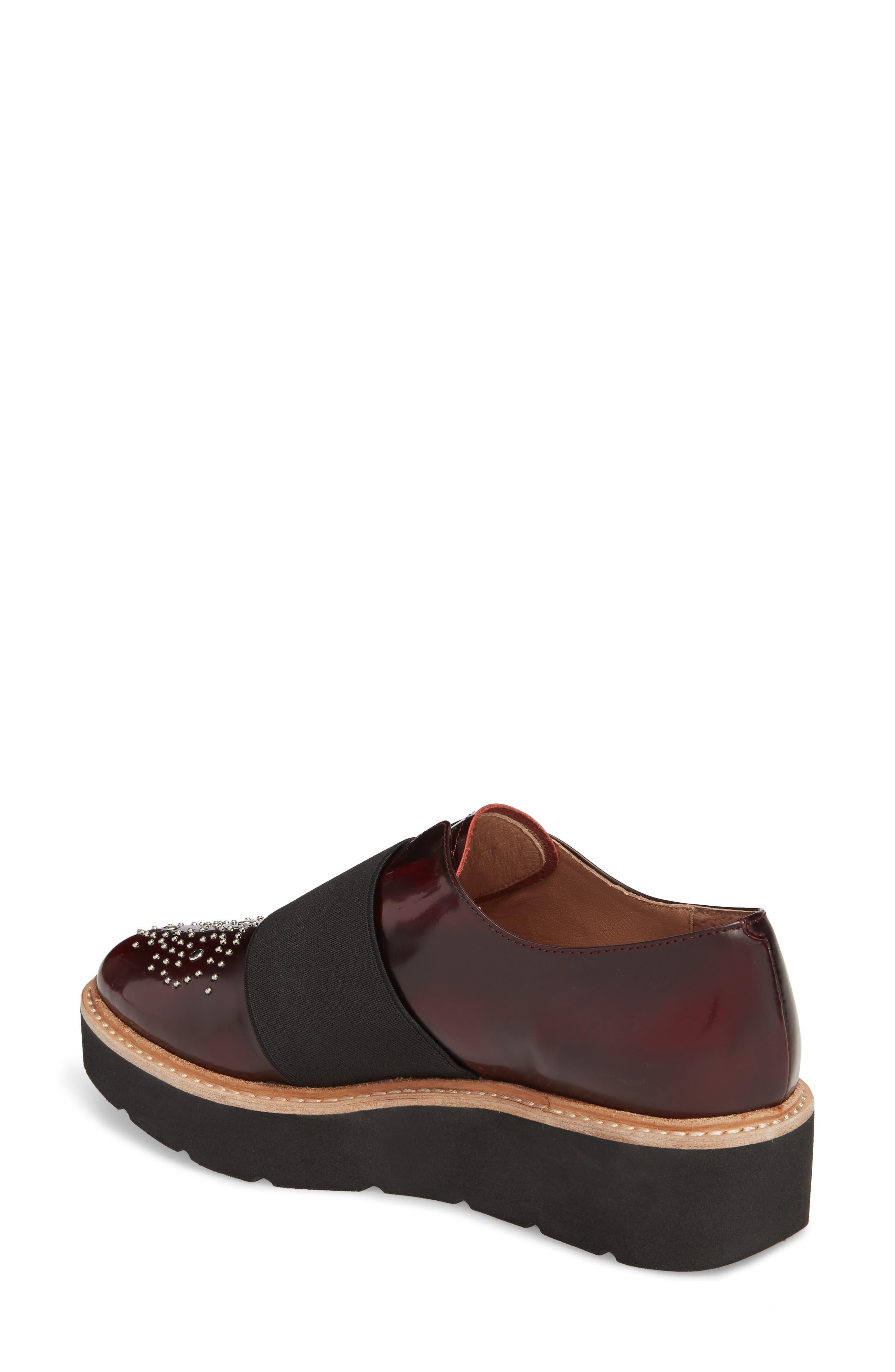 Jenna Platform Loafer,                             Alternate thumbnail 2, color,                             Burgundy Leather