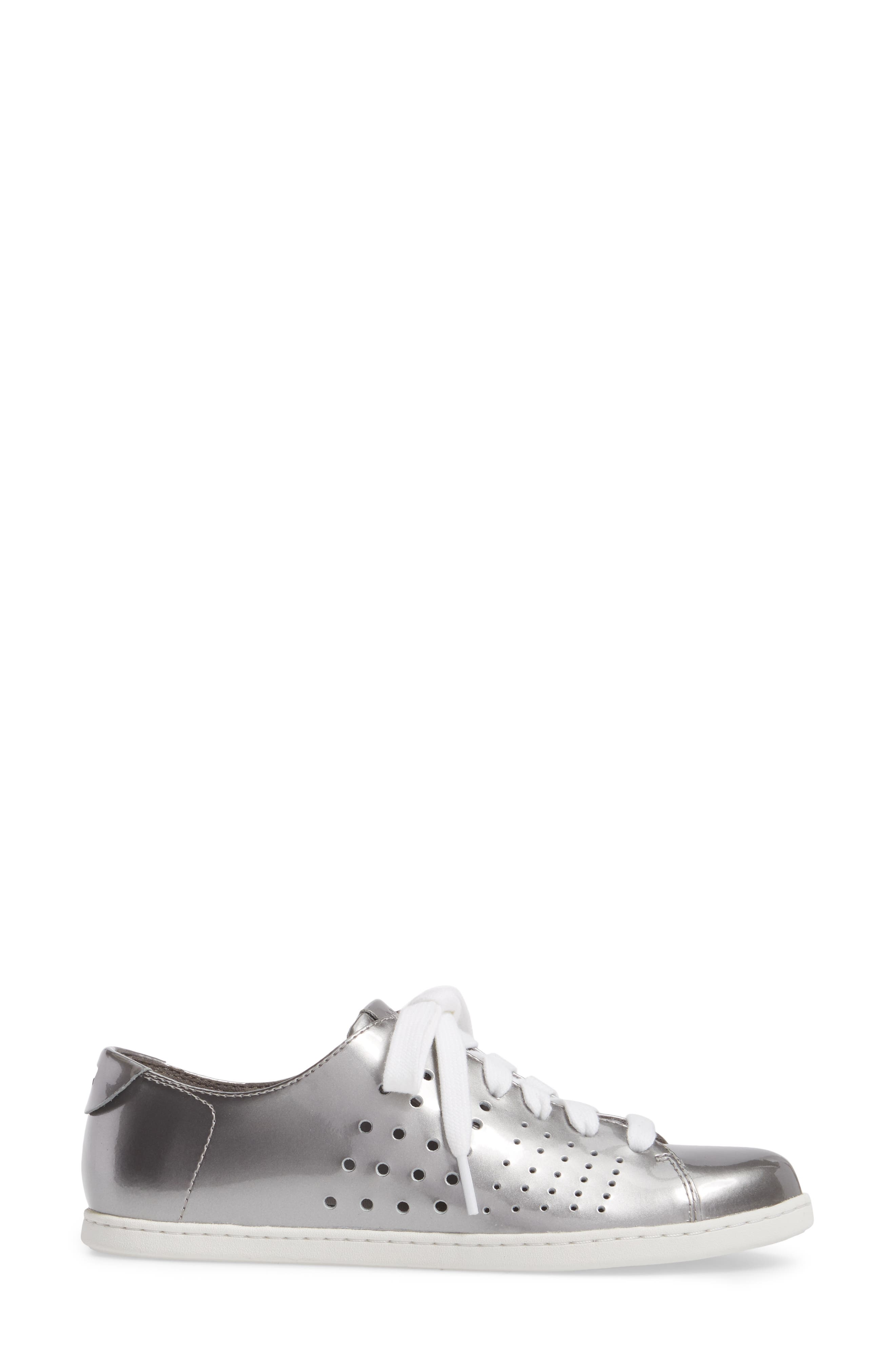 Twins Perforated Low Top Sneaker,                             Alternate thumbnail 3, color,                             Medium Gray Leather
