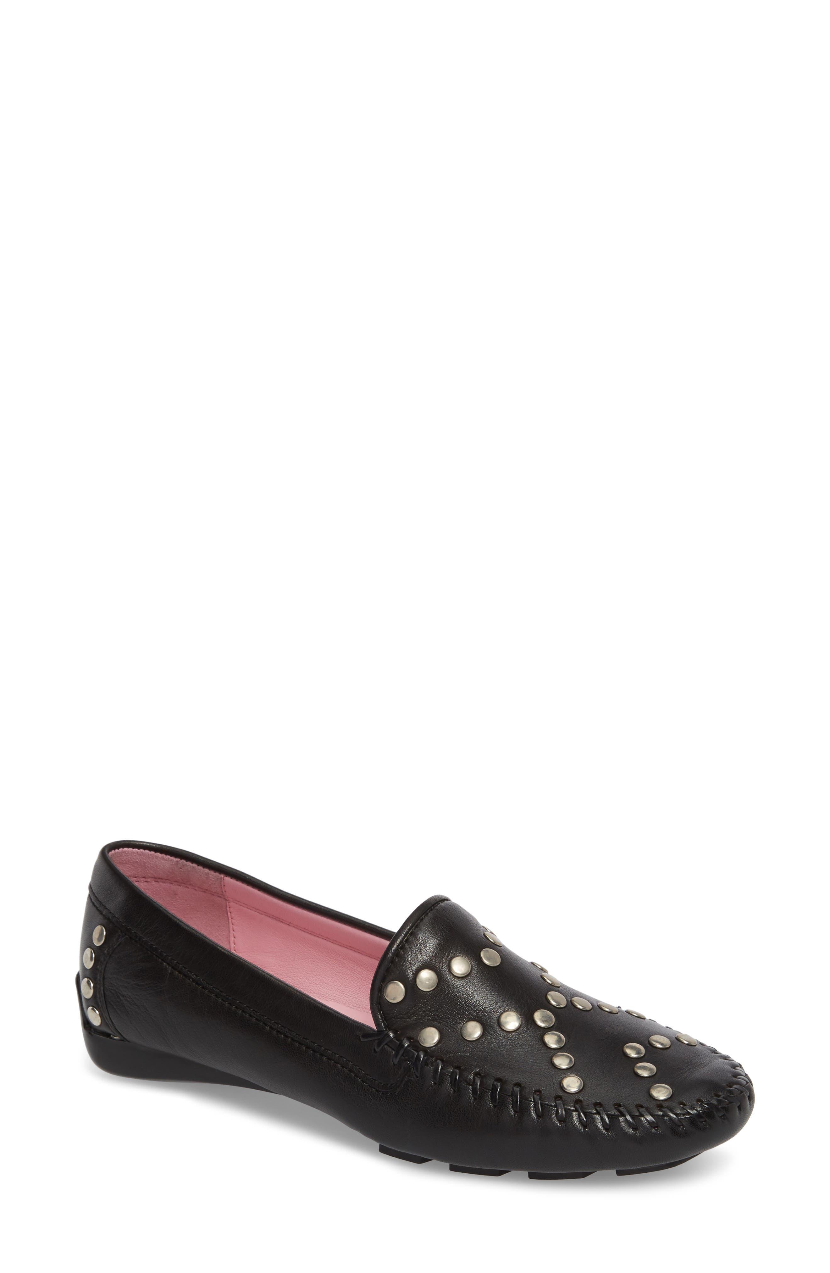 Tinae Studded Loafer,                         Main,                         color, Black Leather