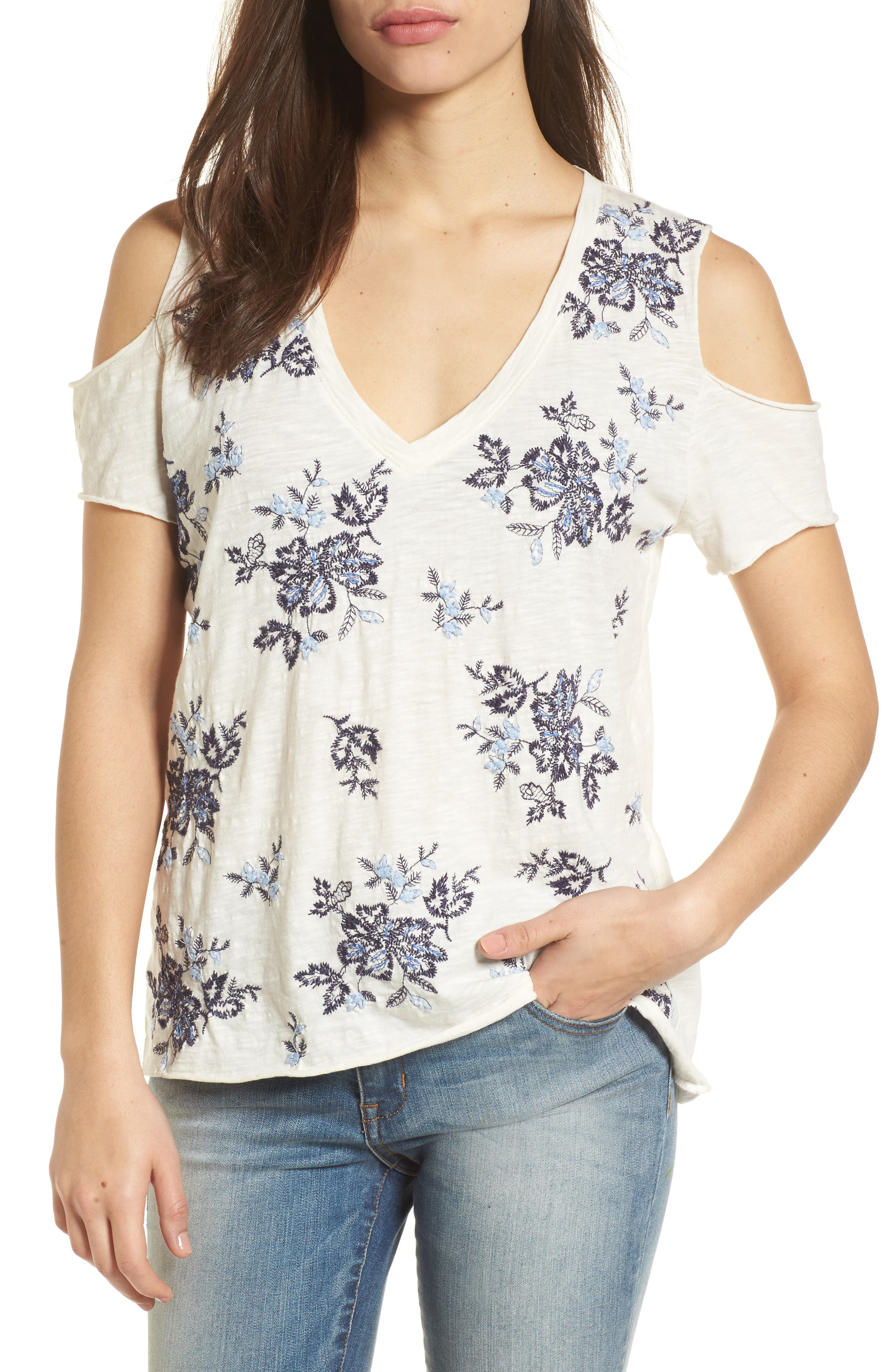 Floral Embroidered Cold Shoulder Top,                         Main,                         color, Blue Multi