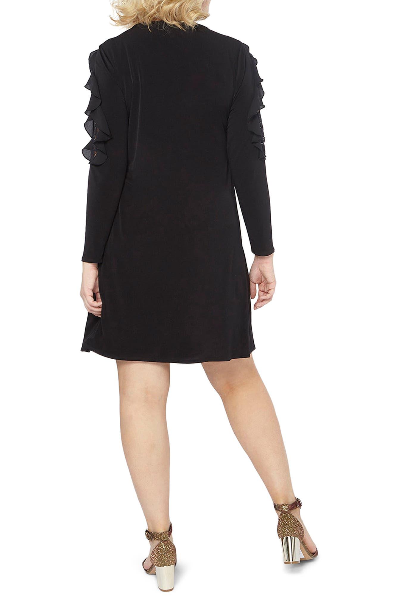 Lace Inset Shift Dress,                             Alternate thumbnail 2, color,                             Black
