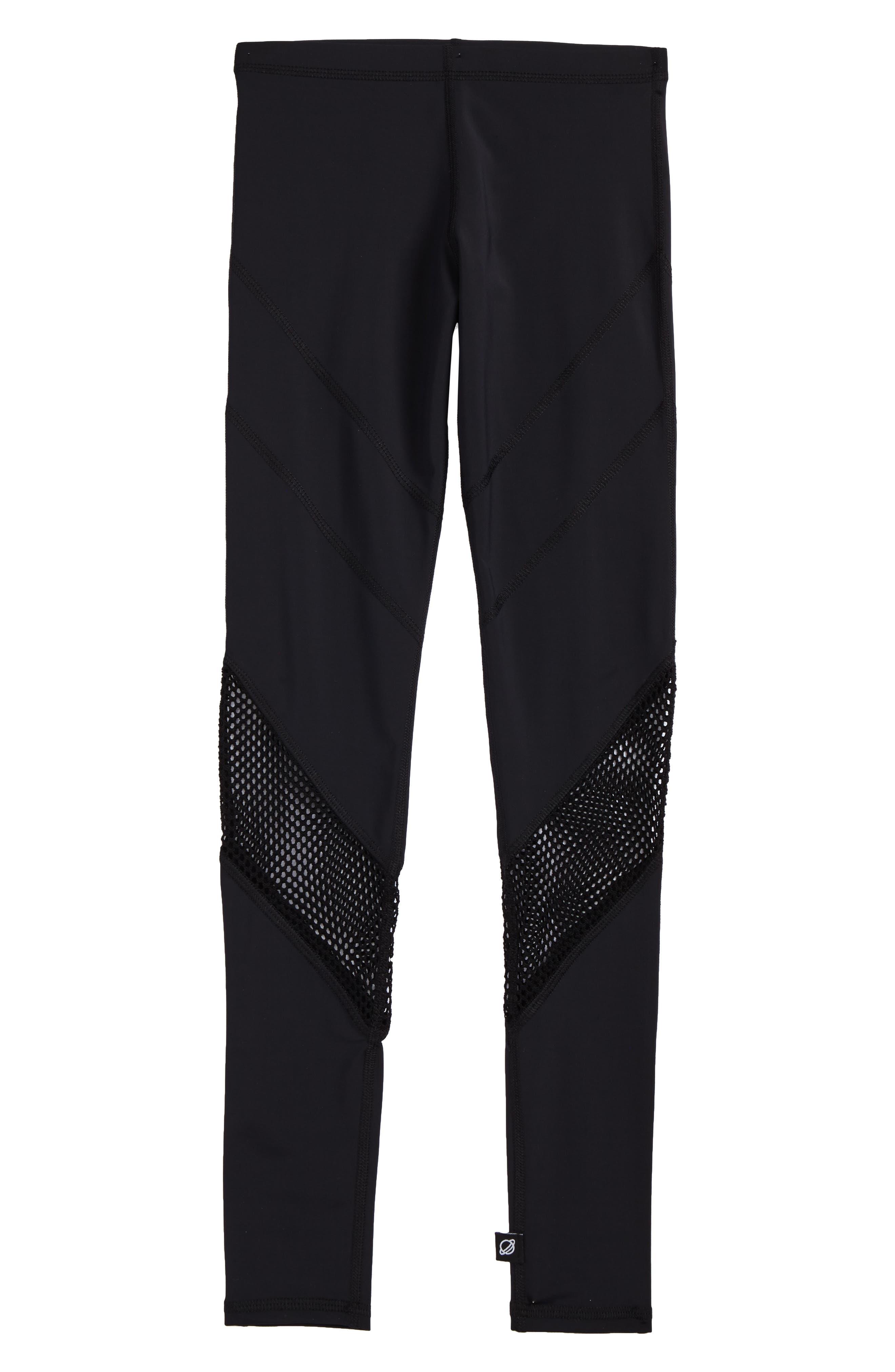 Mesh Panel Leggings,                             Main thumbnail 1, color,                             Black/ Black