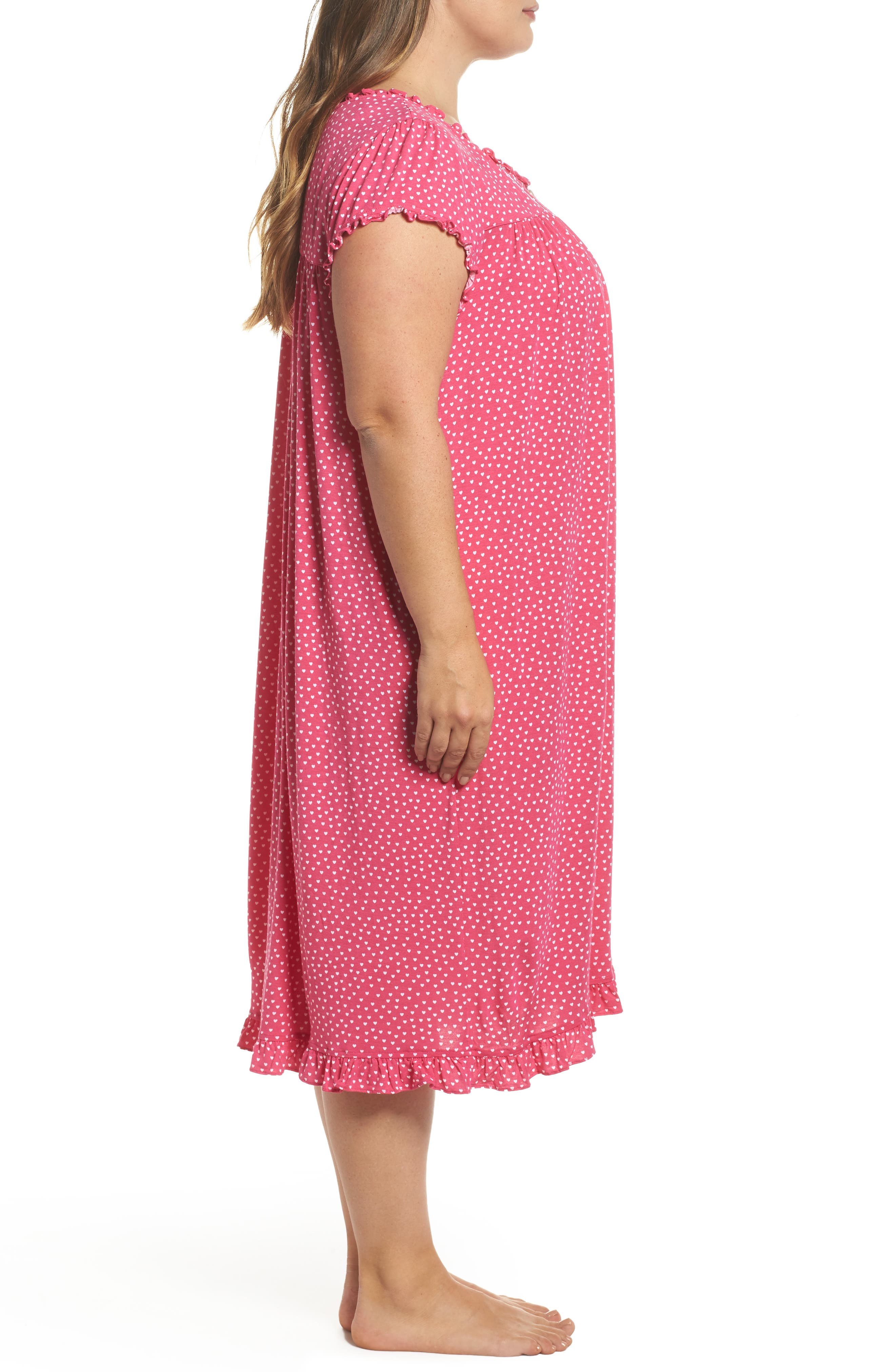 Modal Jersey Nightgown,                             Alternate thumbnail 3, color,                             Peony White Hearts