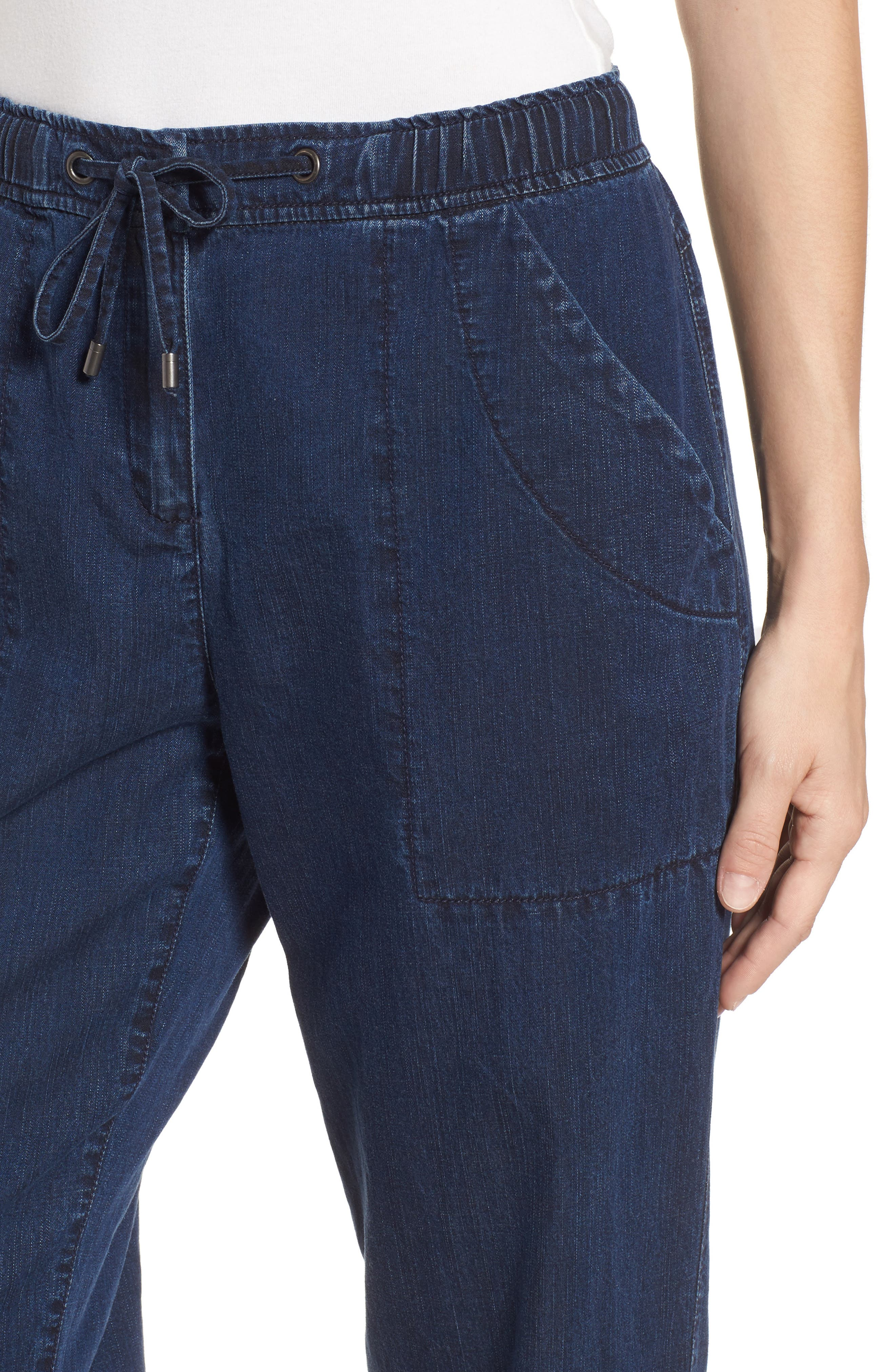 Slouchy Ankle Denim Pants,                             Alternate thumbnail 4, color,                             Midnight