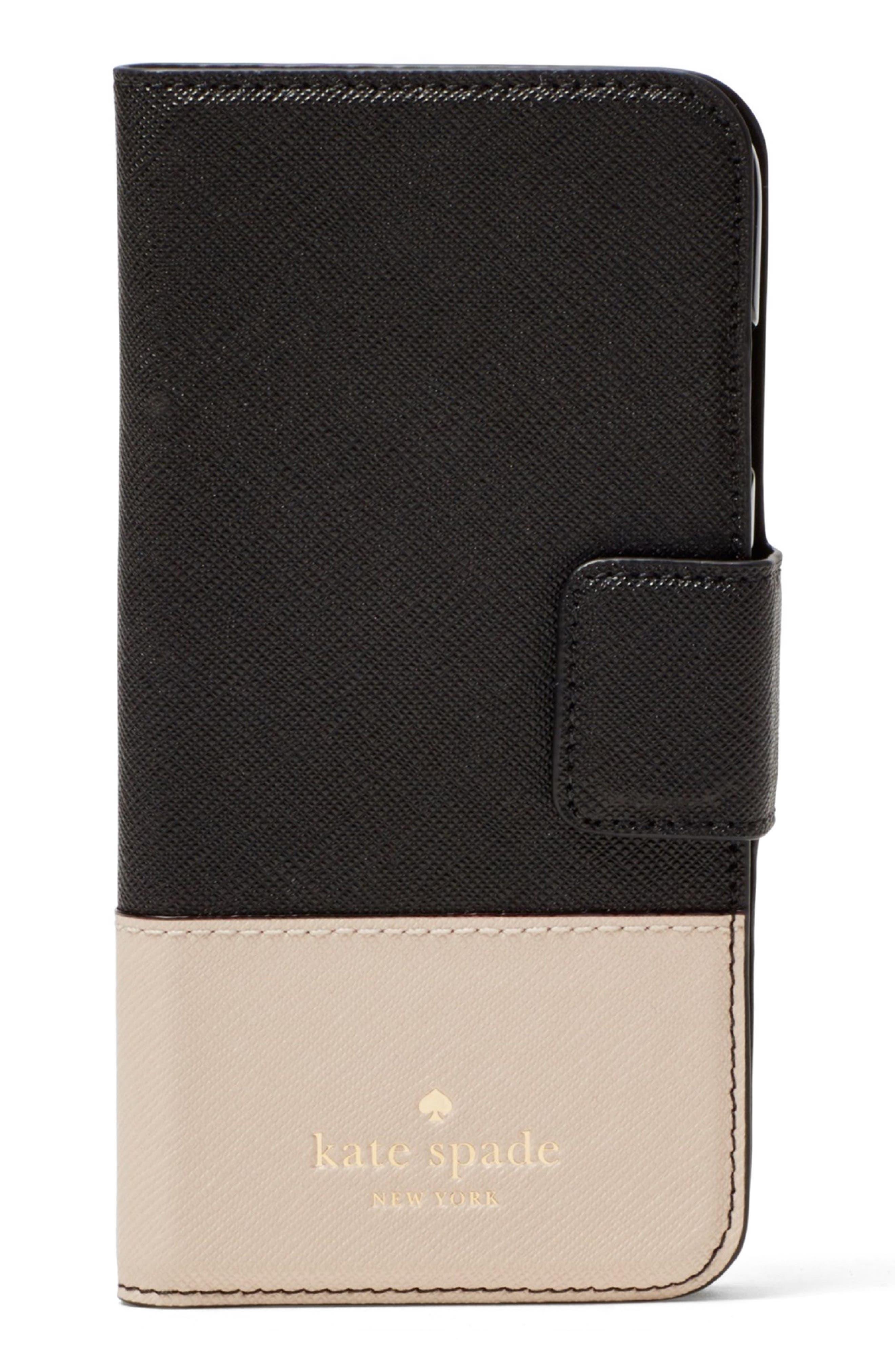 leather iPhone 7/8 & 7/8 Plus case,                             Main thumbnail 1, color,                             Black/ Tusk