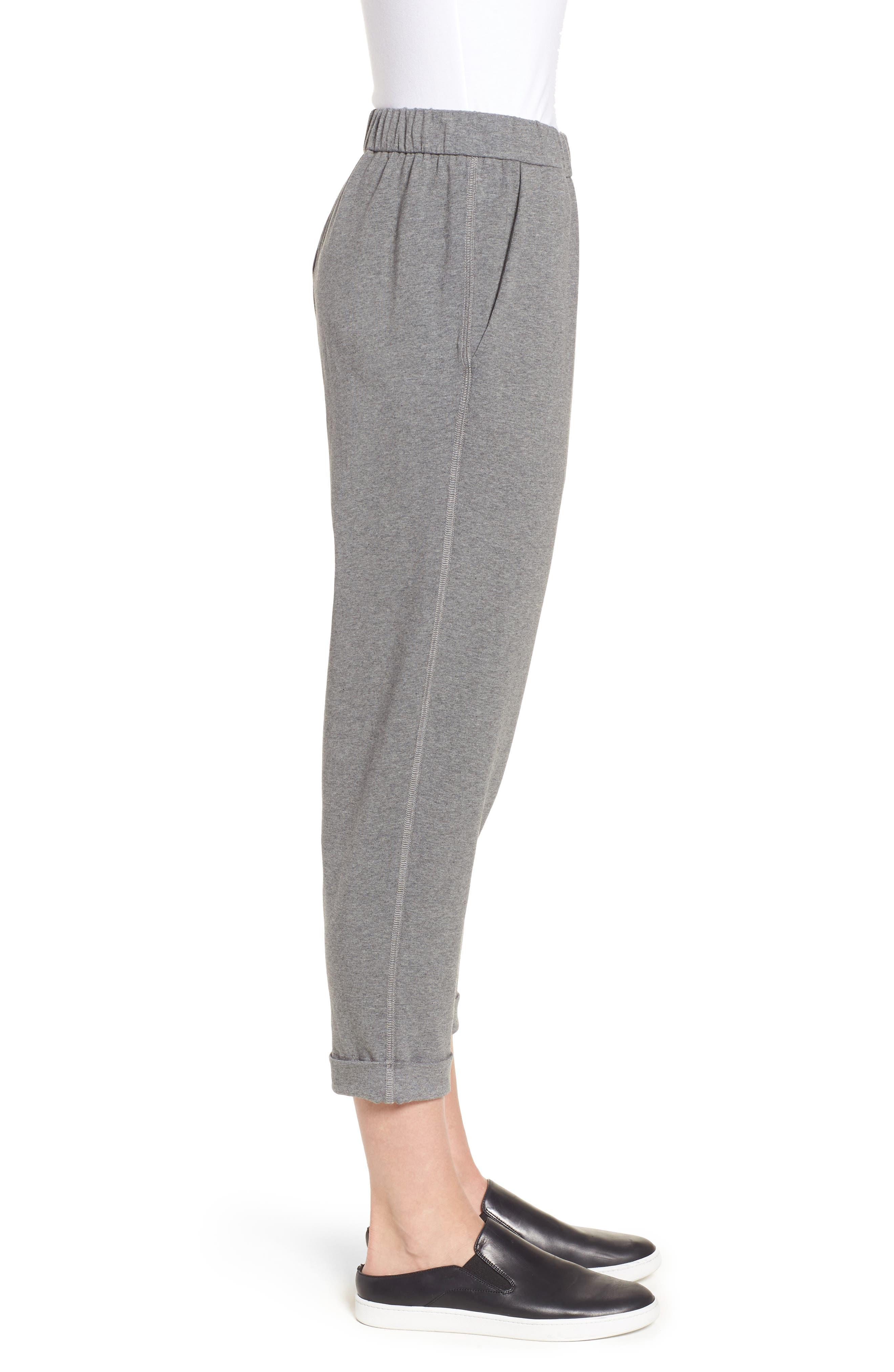 Organic Cotton Jersey Crop Pants,                             Alternate thumbnail 3, color,                             Grey