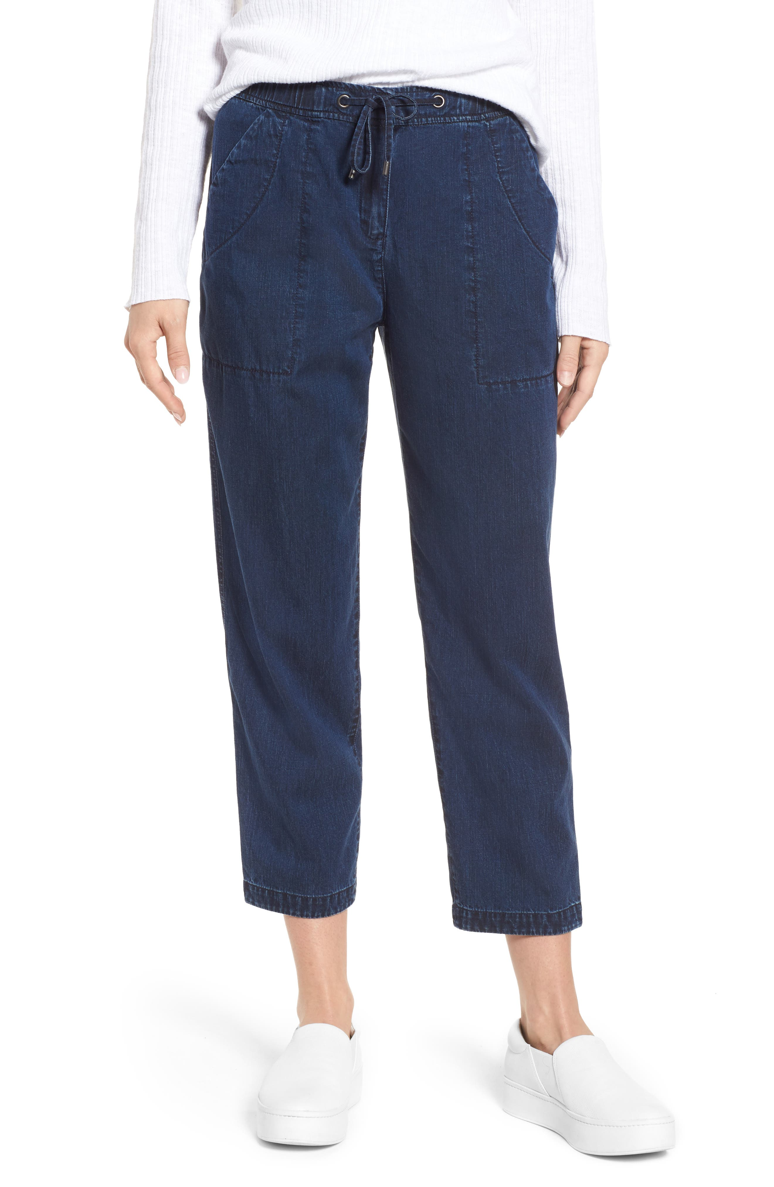 Slouchy Ankle Denim Pants,                         Main,                         color, Midnight