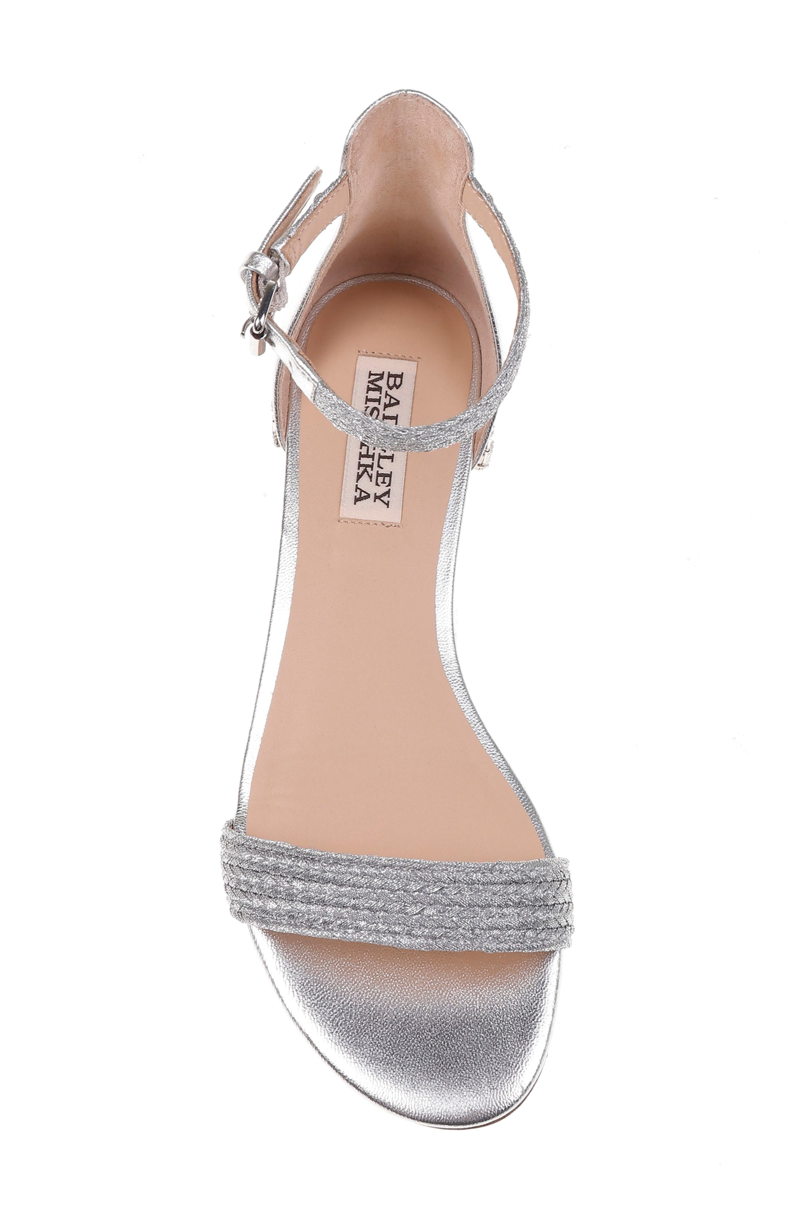 Steffie Ankle Strap Sandal,                             Alternate thumbnail 5, color,                             Silver Leather