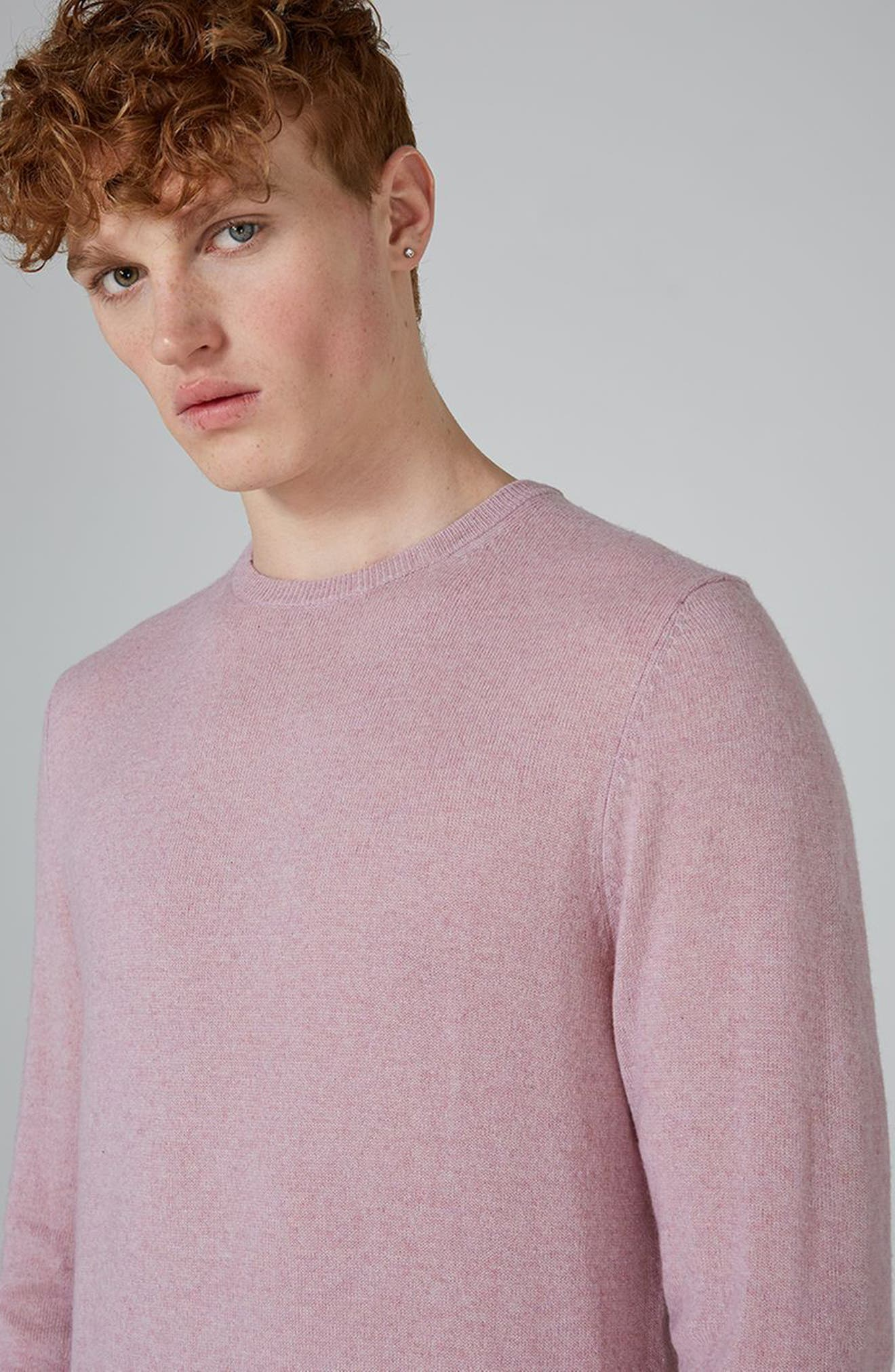 Crewneck Sweater,                             Alternate thumbnail 3, color,                             Pink