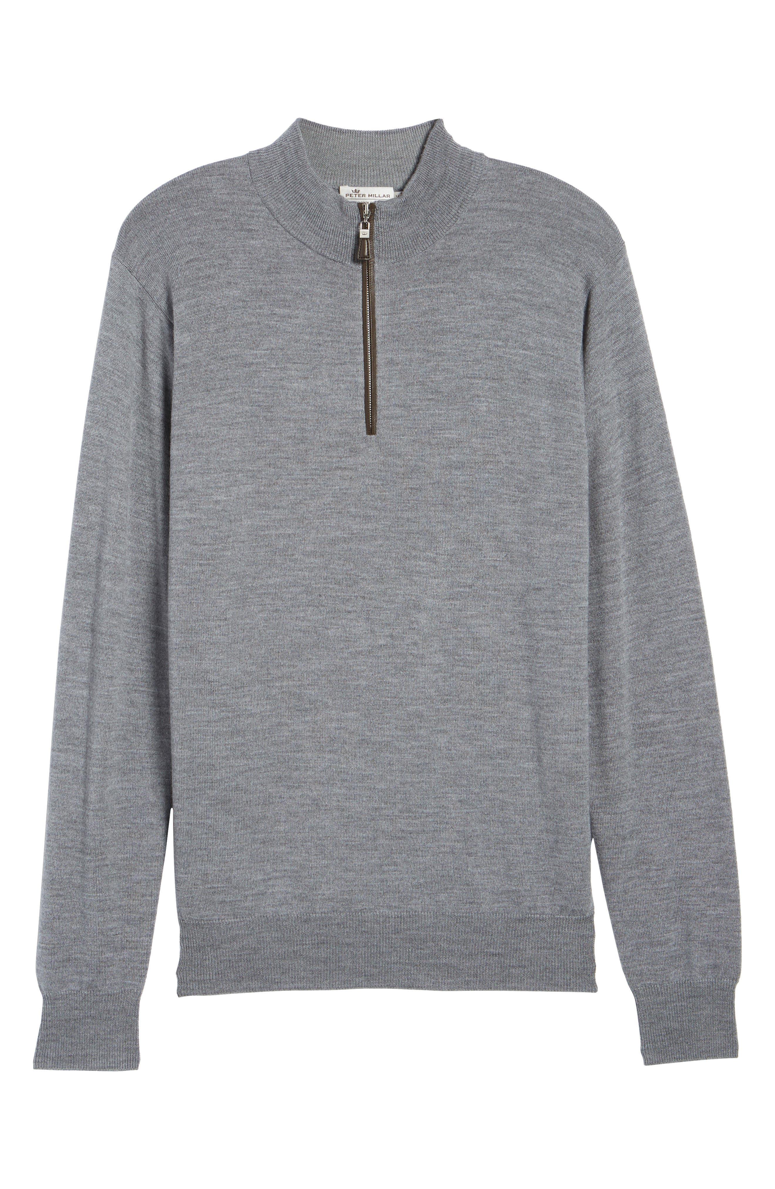 Merino Wool & Silk Quarter Zip Pullover,                             Main thumbnail 1, color,                             Flannel