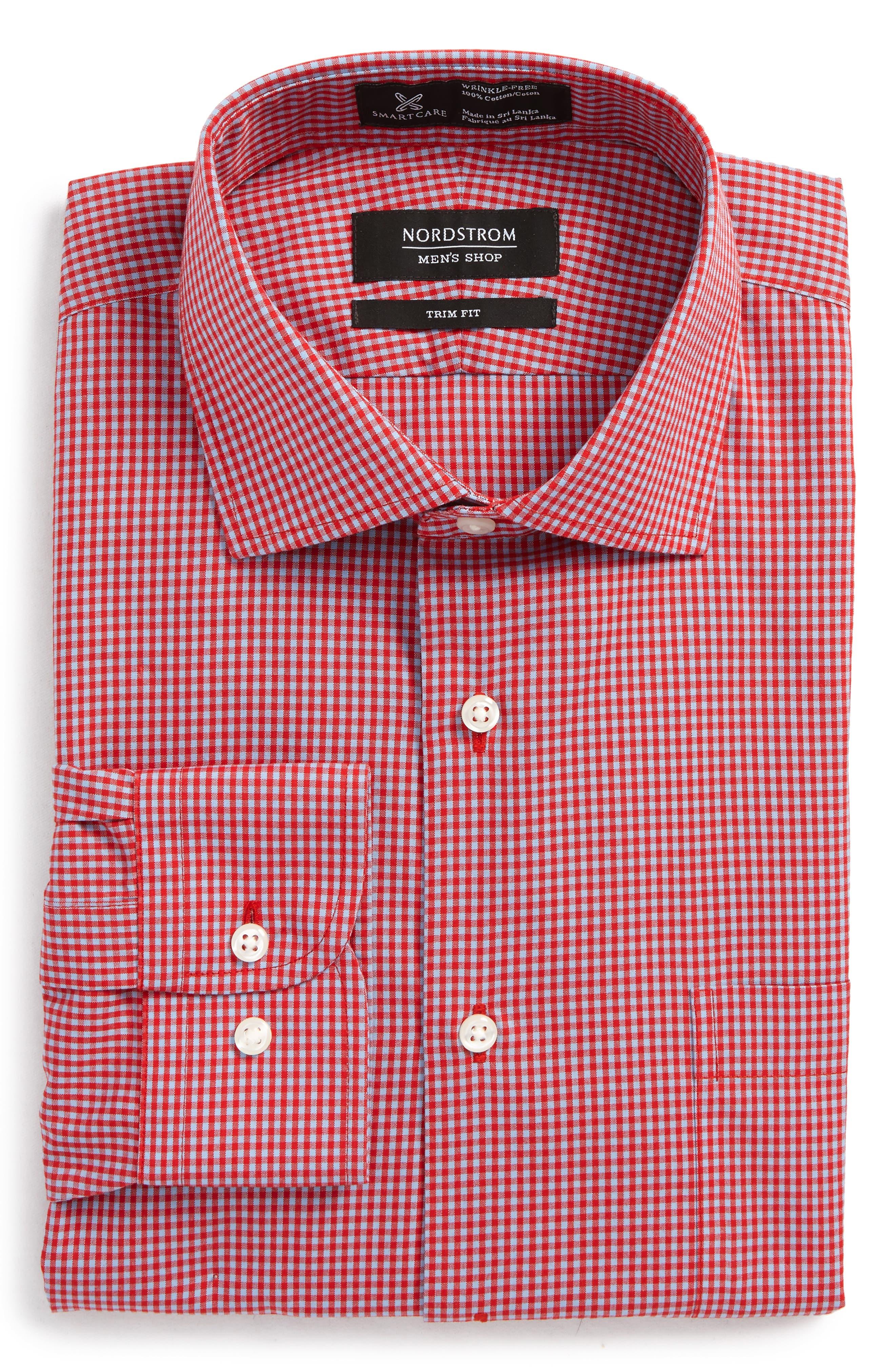 Smartcare<sup>™</sup> Trim Fit Check Dress Shirt,                             Alternate thumbnail 6, color,                             Red Barbados