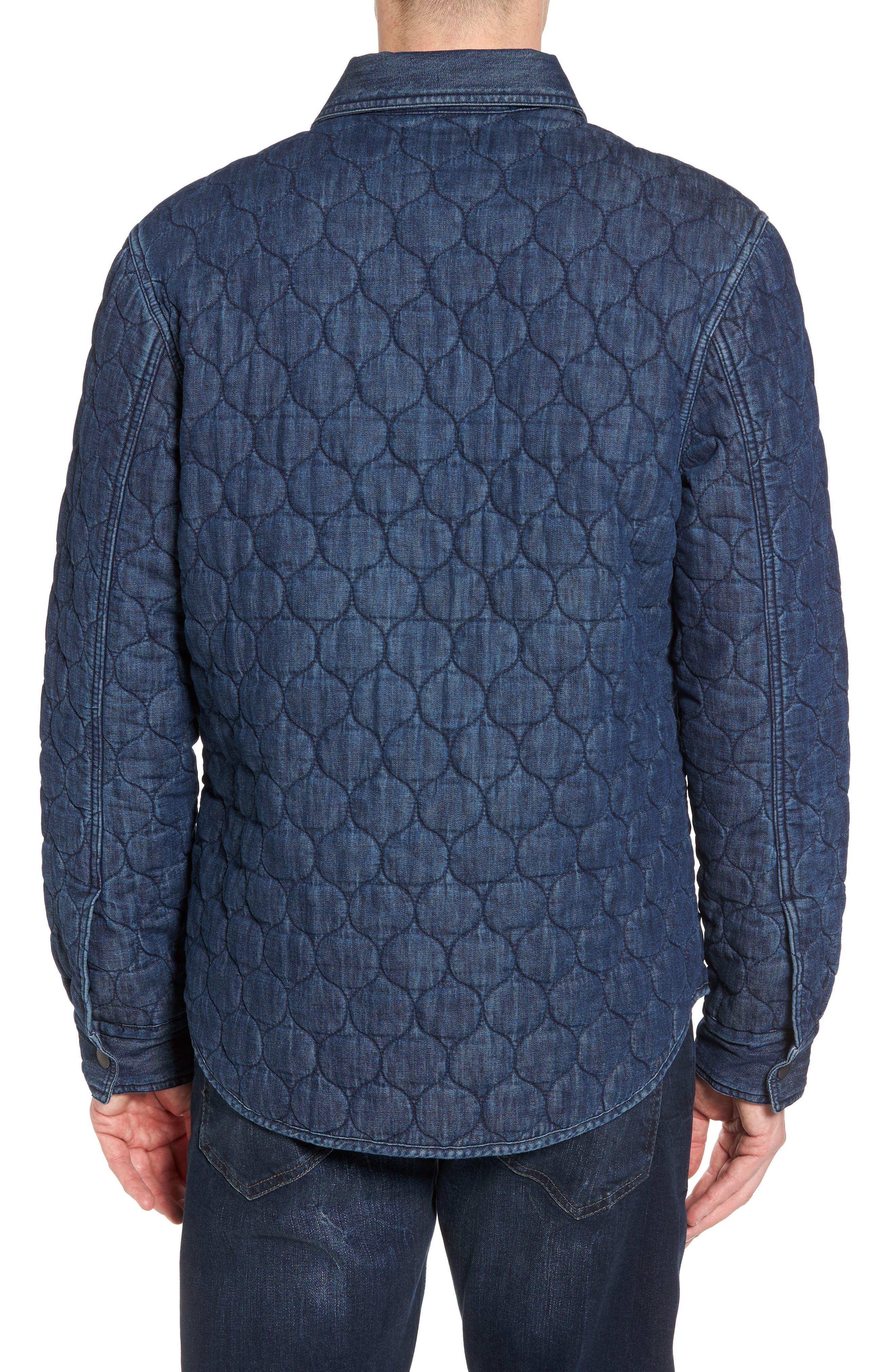 Quilted Denim Shirt Jacket,                             Alternate thumbnail 2, color,                             Navy Iris Indigo