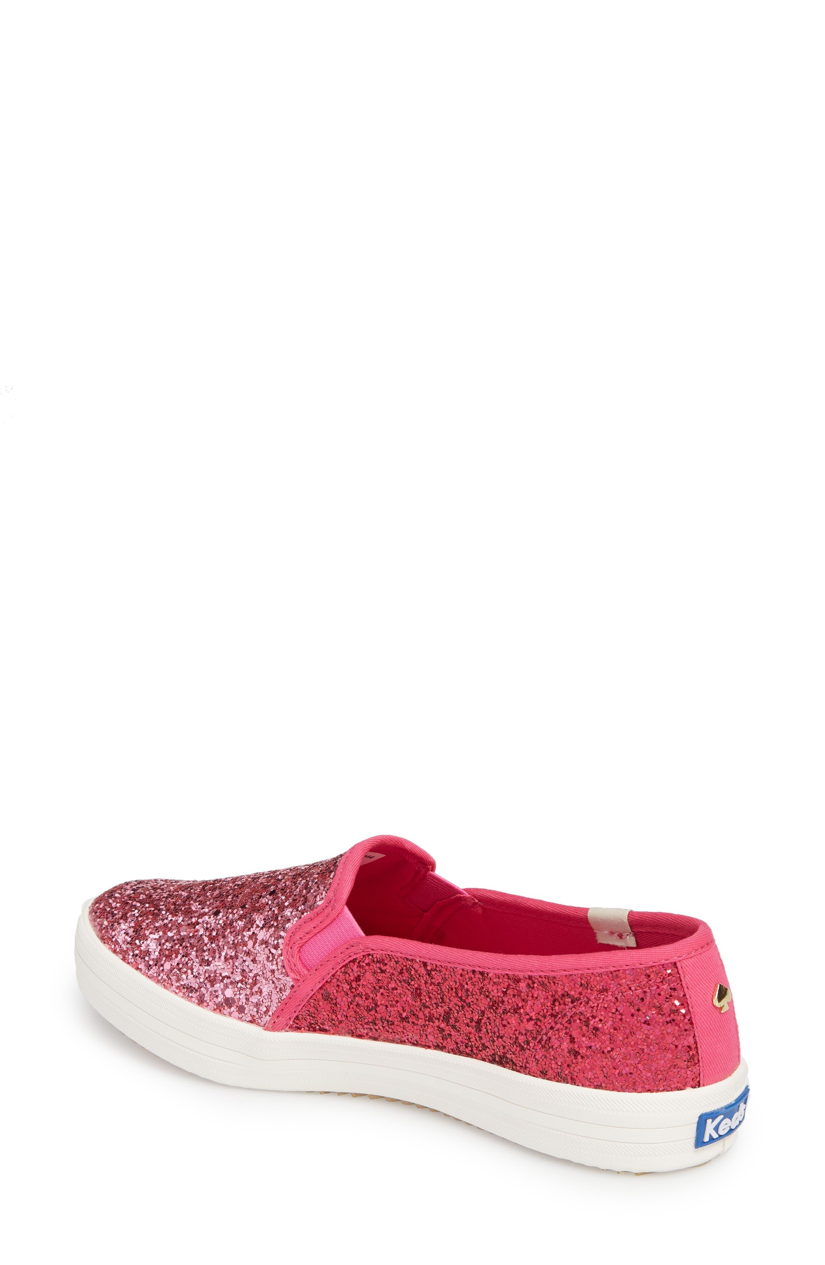 double decker glitter slip-on sneaker,                             Alternate thumbnail 2, color,                             Pink Glitter