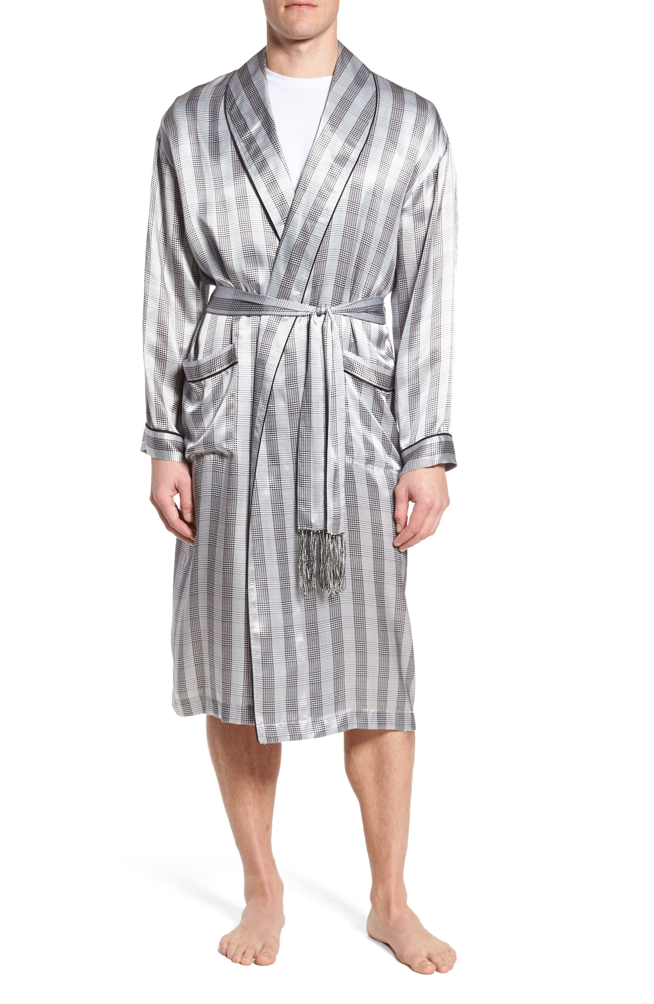 Silk Robe,                         Main,                         color, Black/ Black Piping