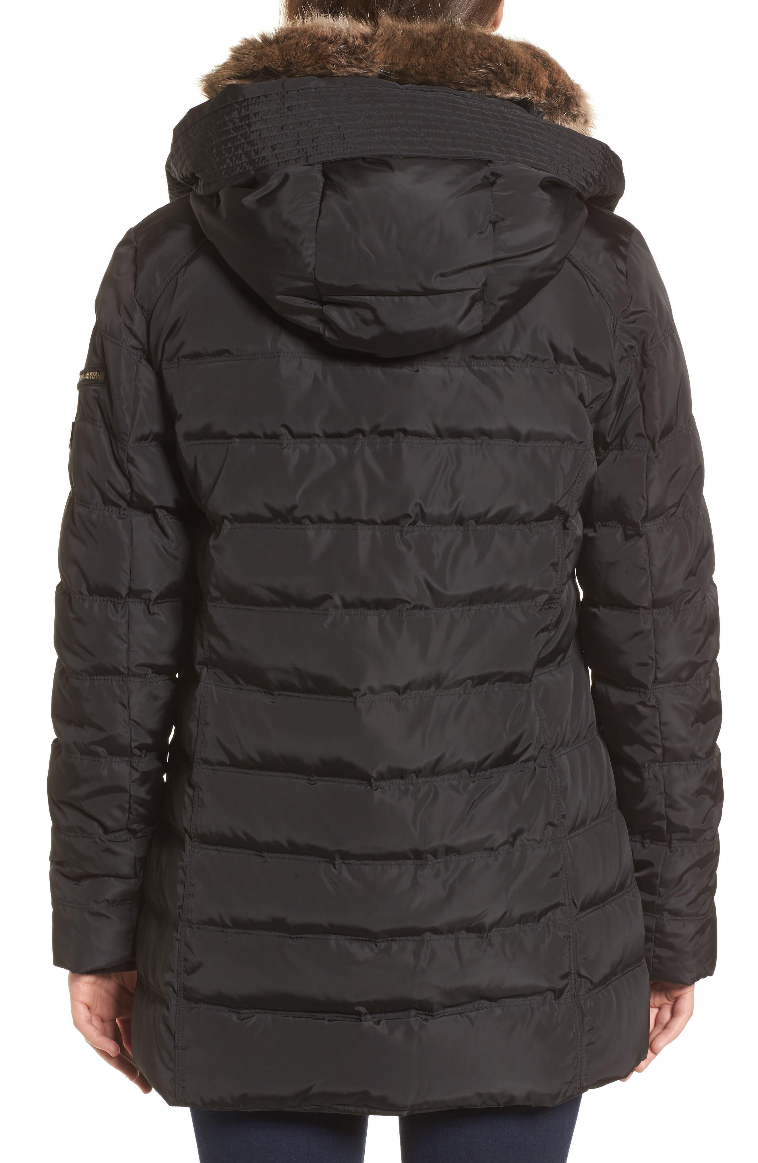 Hooded Coat with Faux Fur Trim,                             Alternate thumbnail 2, color,                             Black