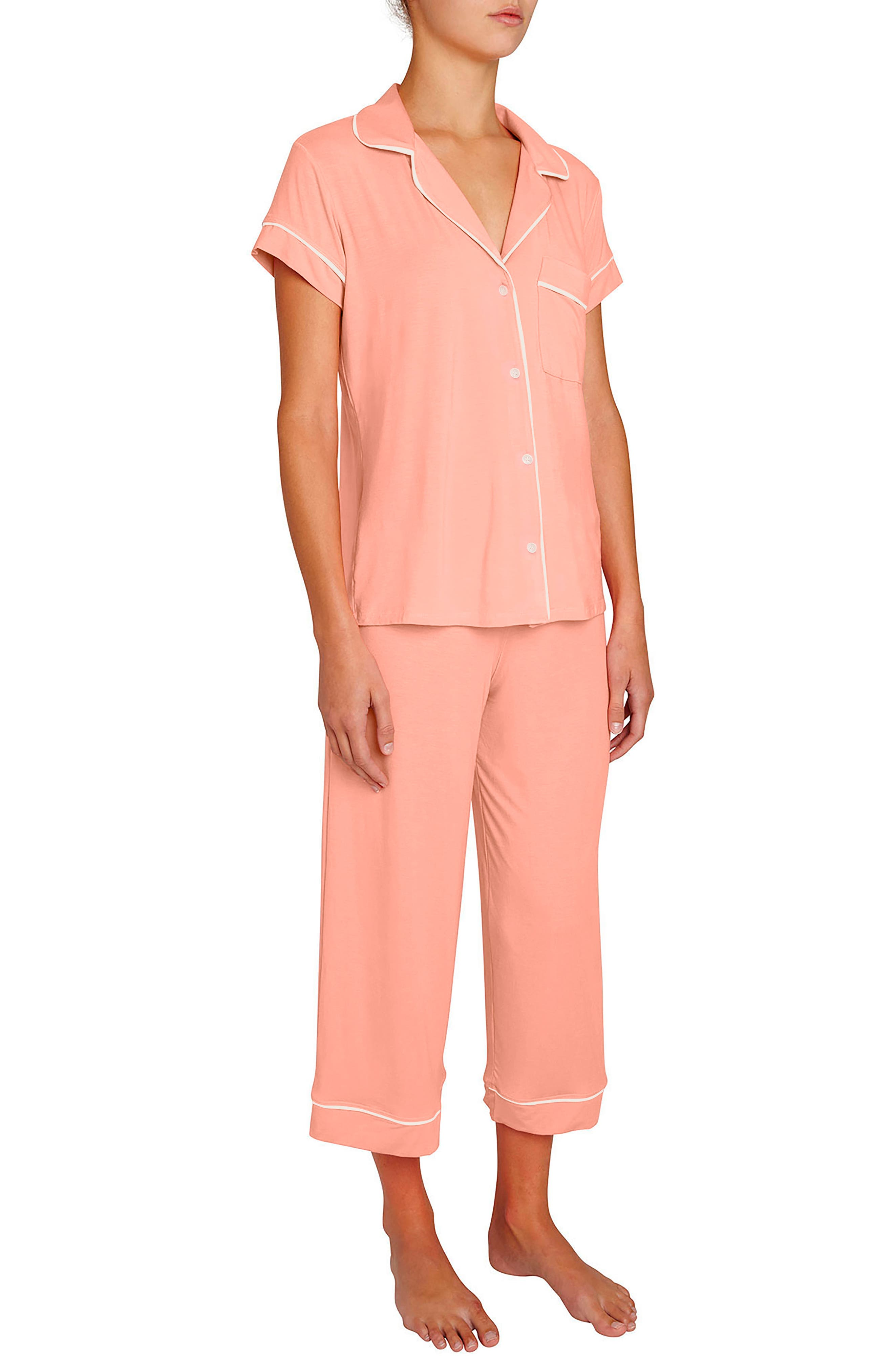 Gisele Crop Pajamas,                             Main thumbnail 1, color,                             Candlelight Peach/ Ivory