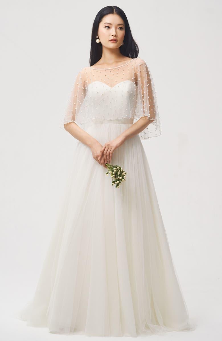 Jenny Yoo Fiona Imitation Pearl Tulle Top