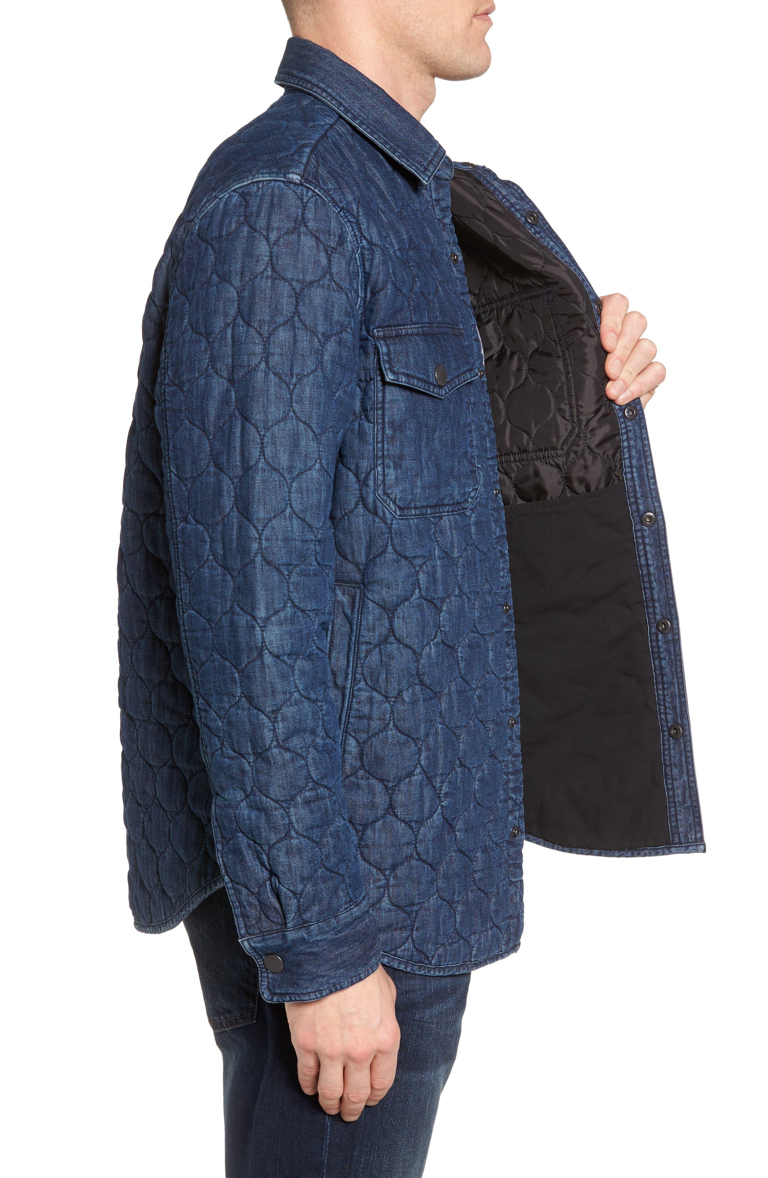 Quilted Denim Shirt Jacket,                             Alternate thumbnail 3, color,                             Navy Iris Indigo
