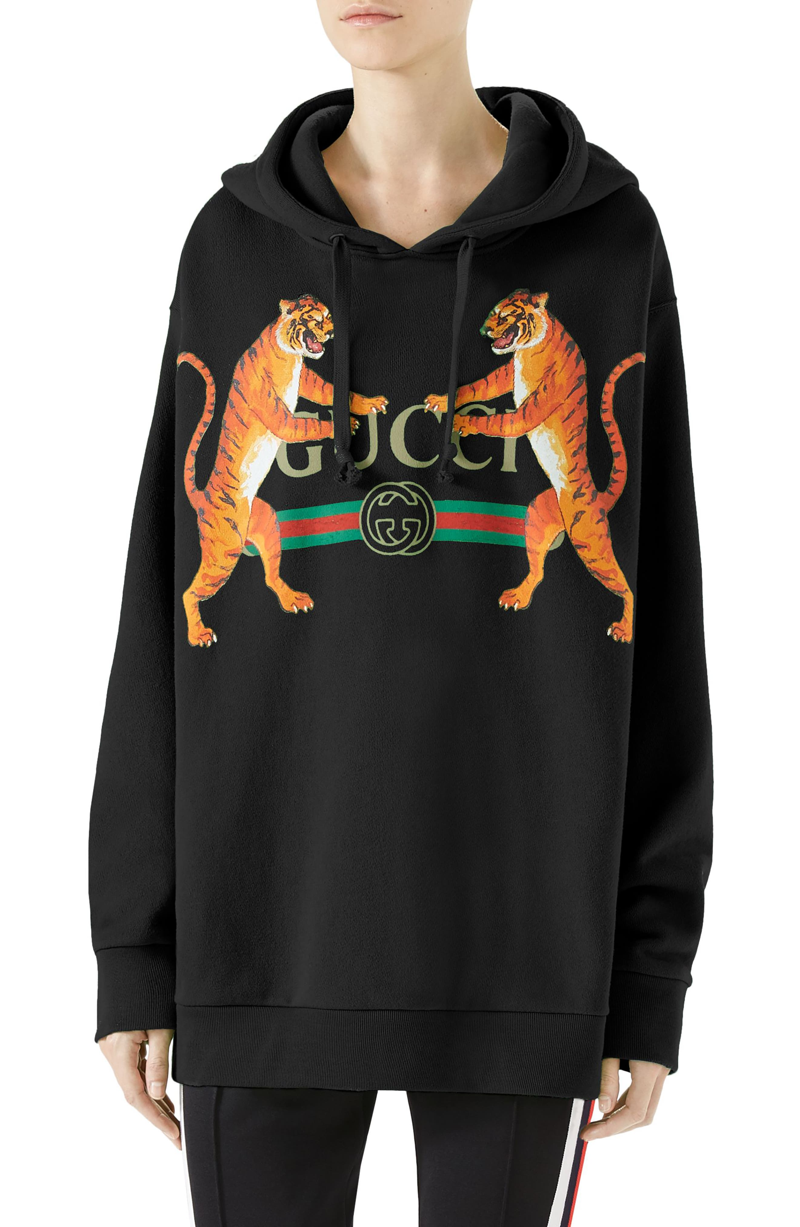 Main Image - Gucci Tiger Logo Hooded Sweatshirt