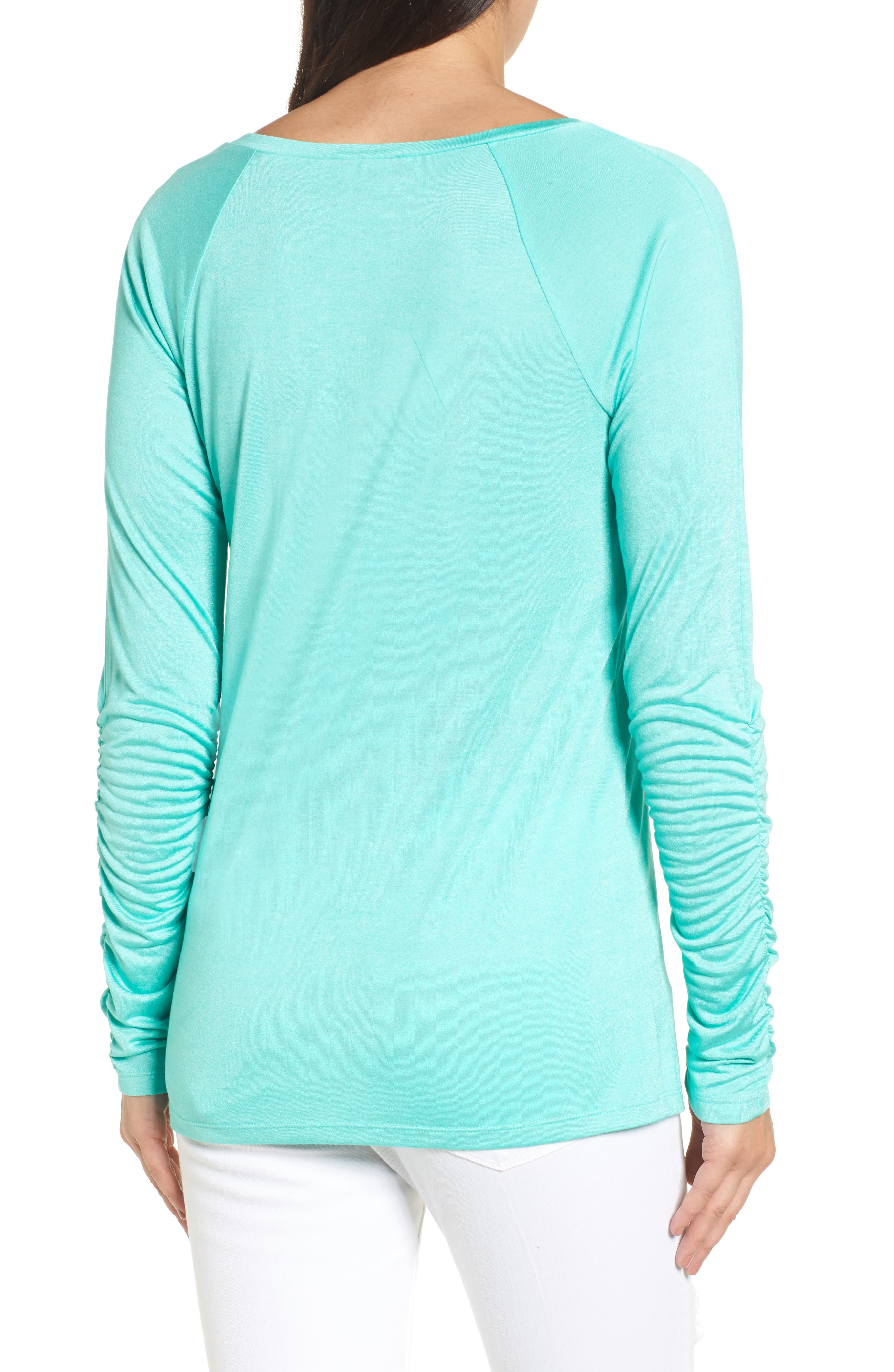 Ruched Sleeve Tee,                             Alternate thumbnail 2, color,                             Green Largo