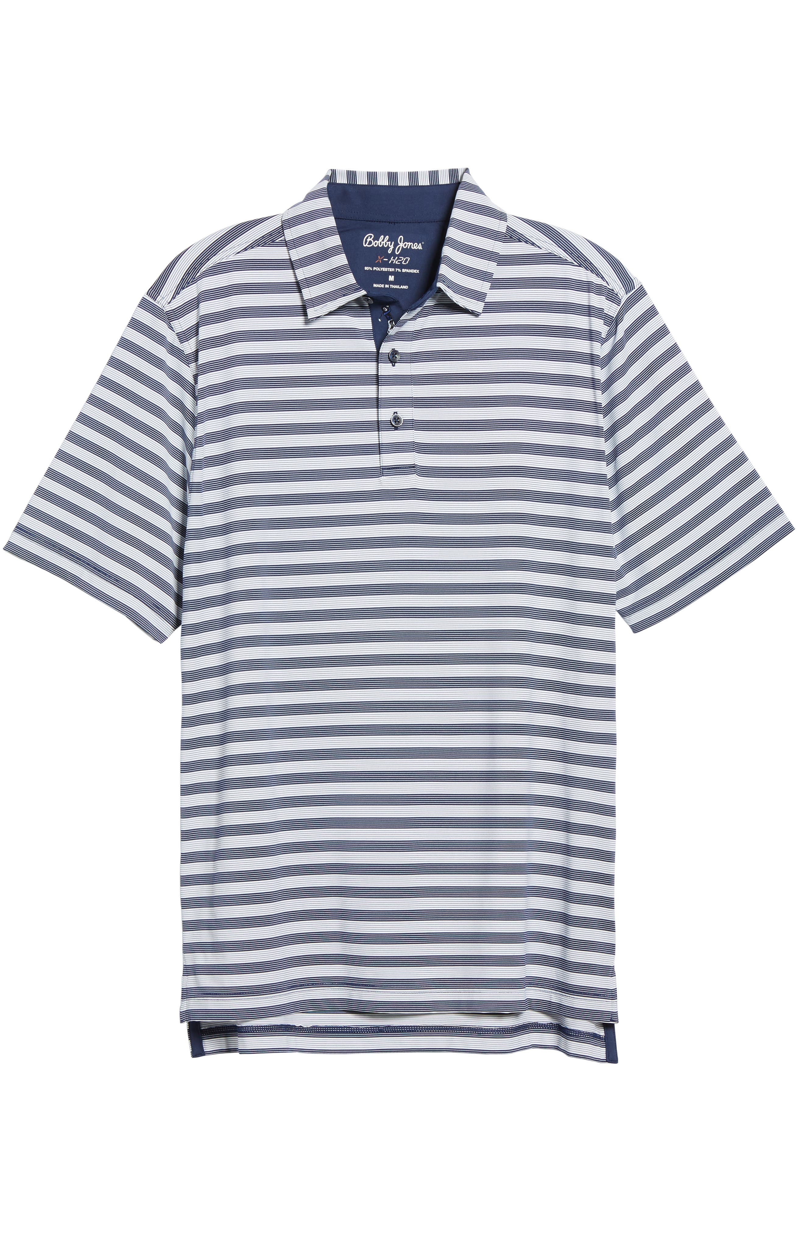 XH2O Del Mar Stripe Jersey Polo,                             Alternate thumbnail 6, color,                             Summer Navy