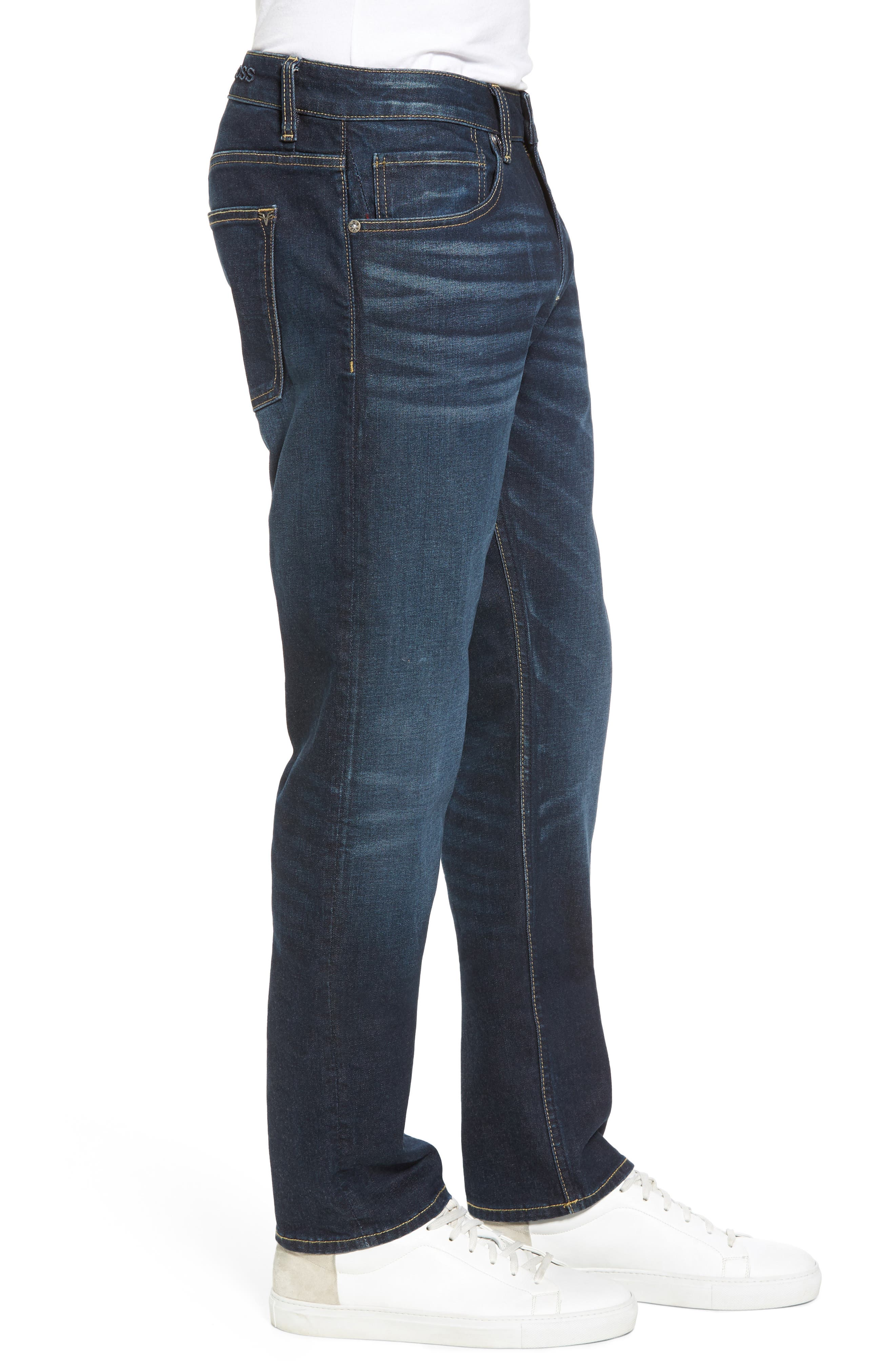 Slim Straight Leg Jeans,                             Alternate thumbnail 3, color,                             Medium Wash
