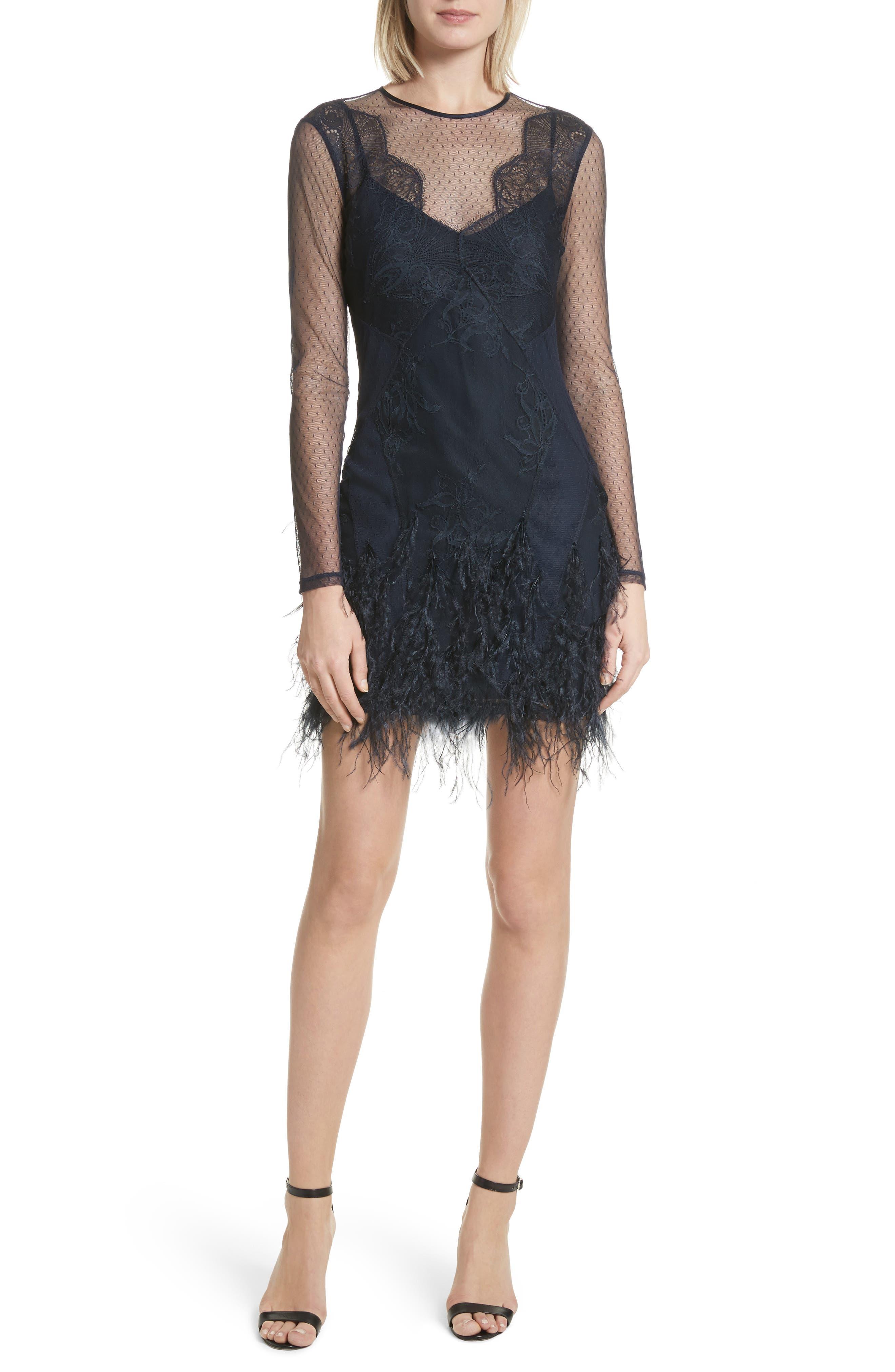 Amabella Feather Trim Dress,                         Main,                         color, Navy