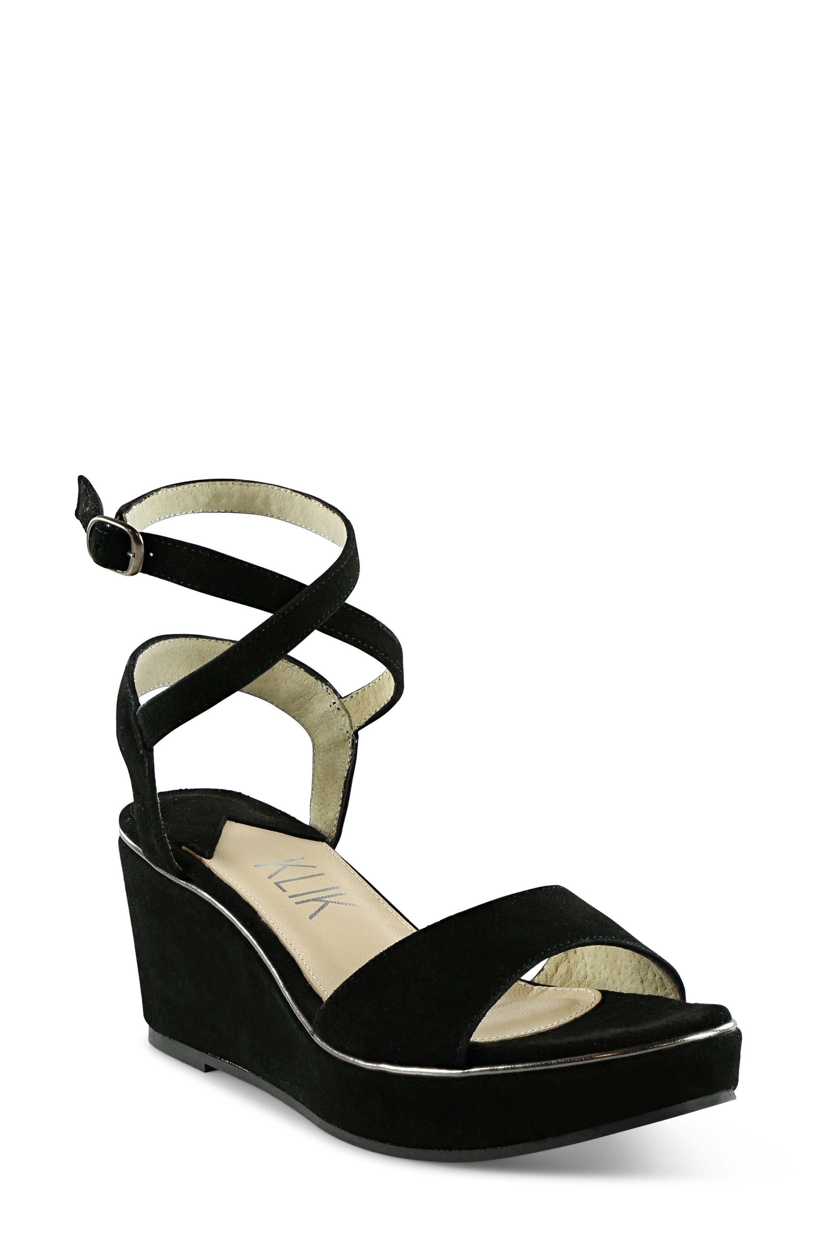 Sashi Platform Sandal,                         Main,                         color, Black Suede