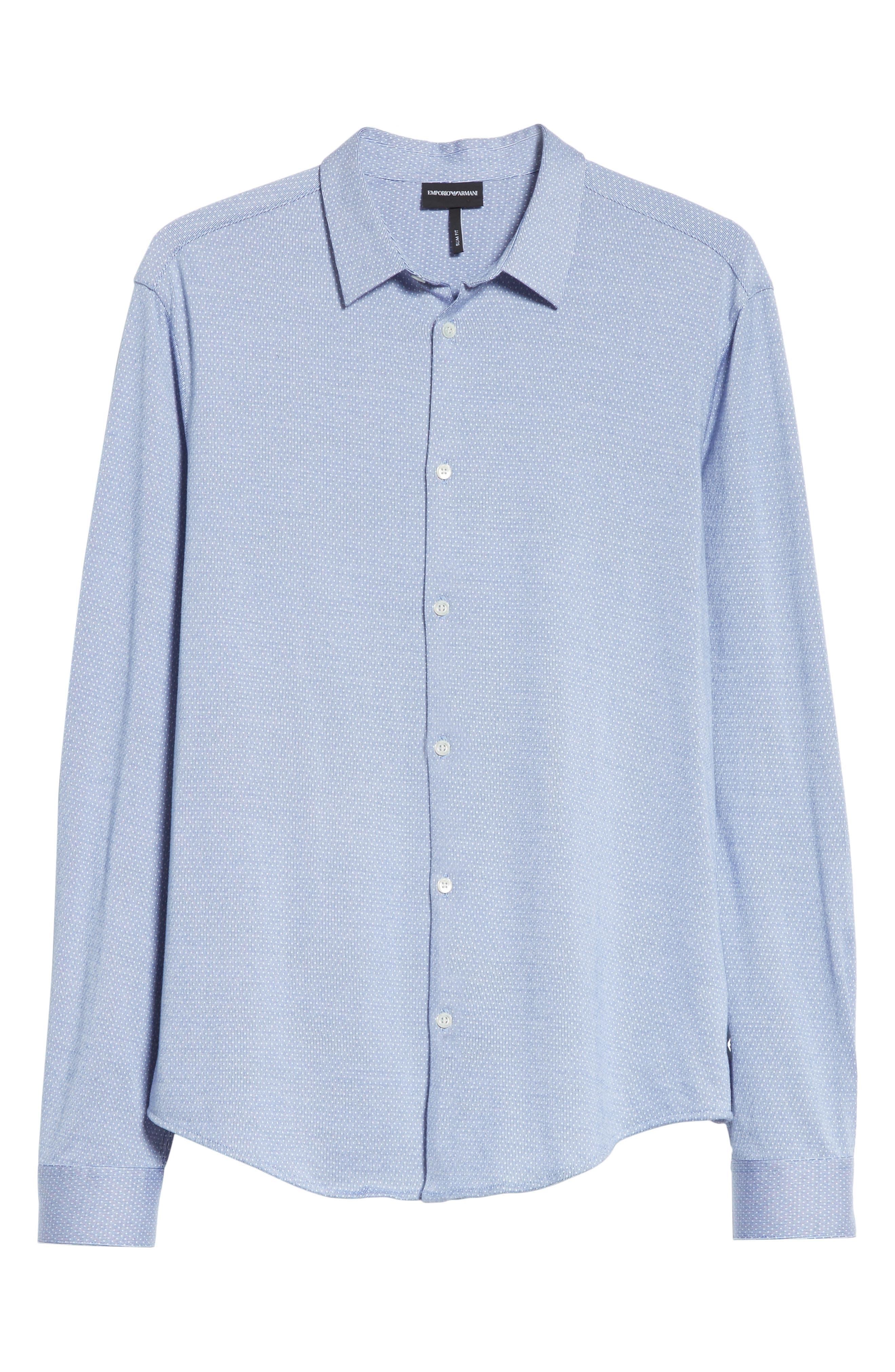Trim Fit Yarn Dyed Sport Shirt,                             Alternate thumbnail 6, color,                             Fant.Pois Blue