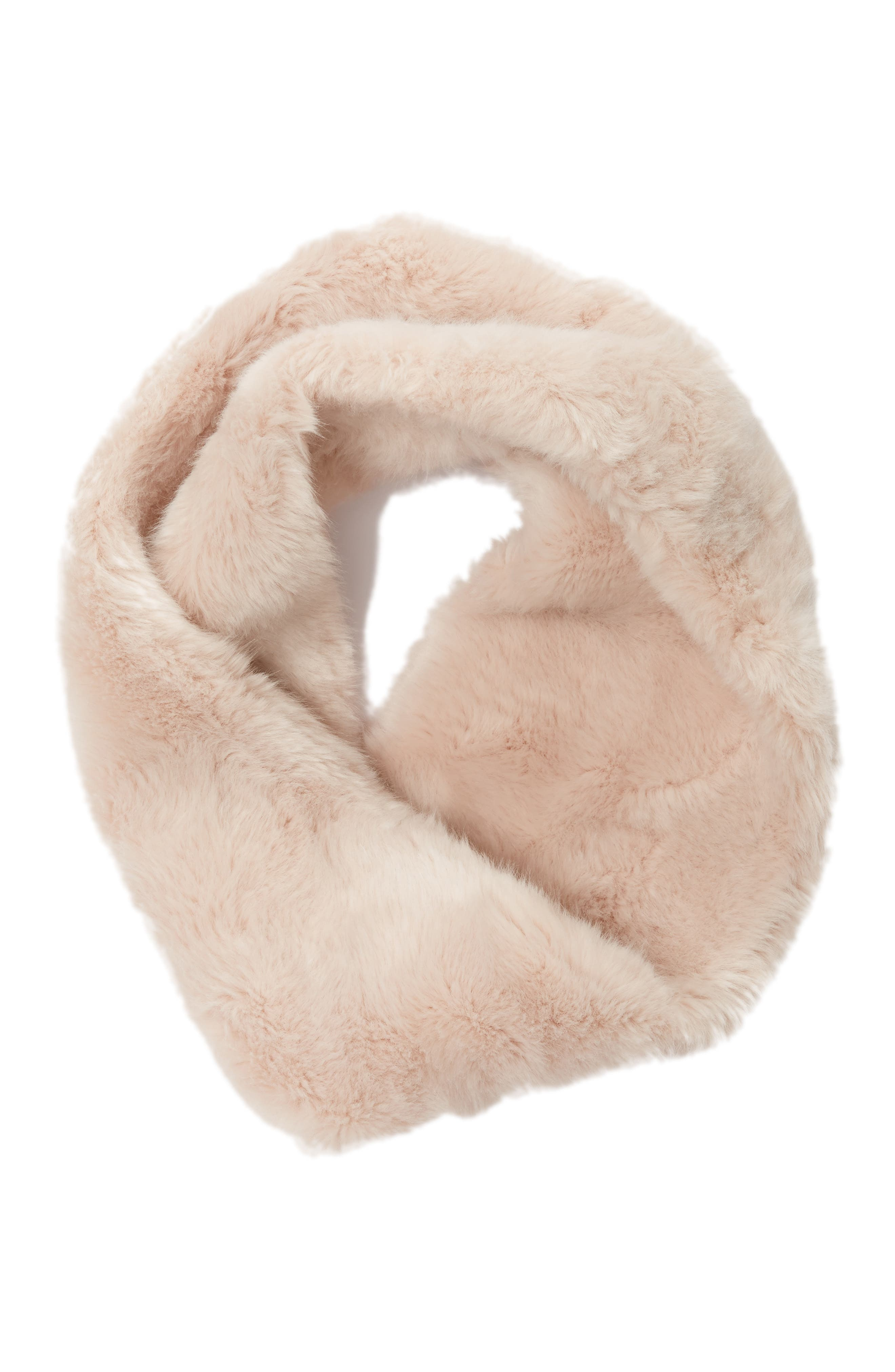 Faux Chinchilla Neck Warmer,                             Alternate thumbnail 3, color,                             Rose