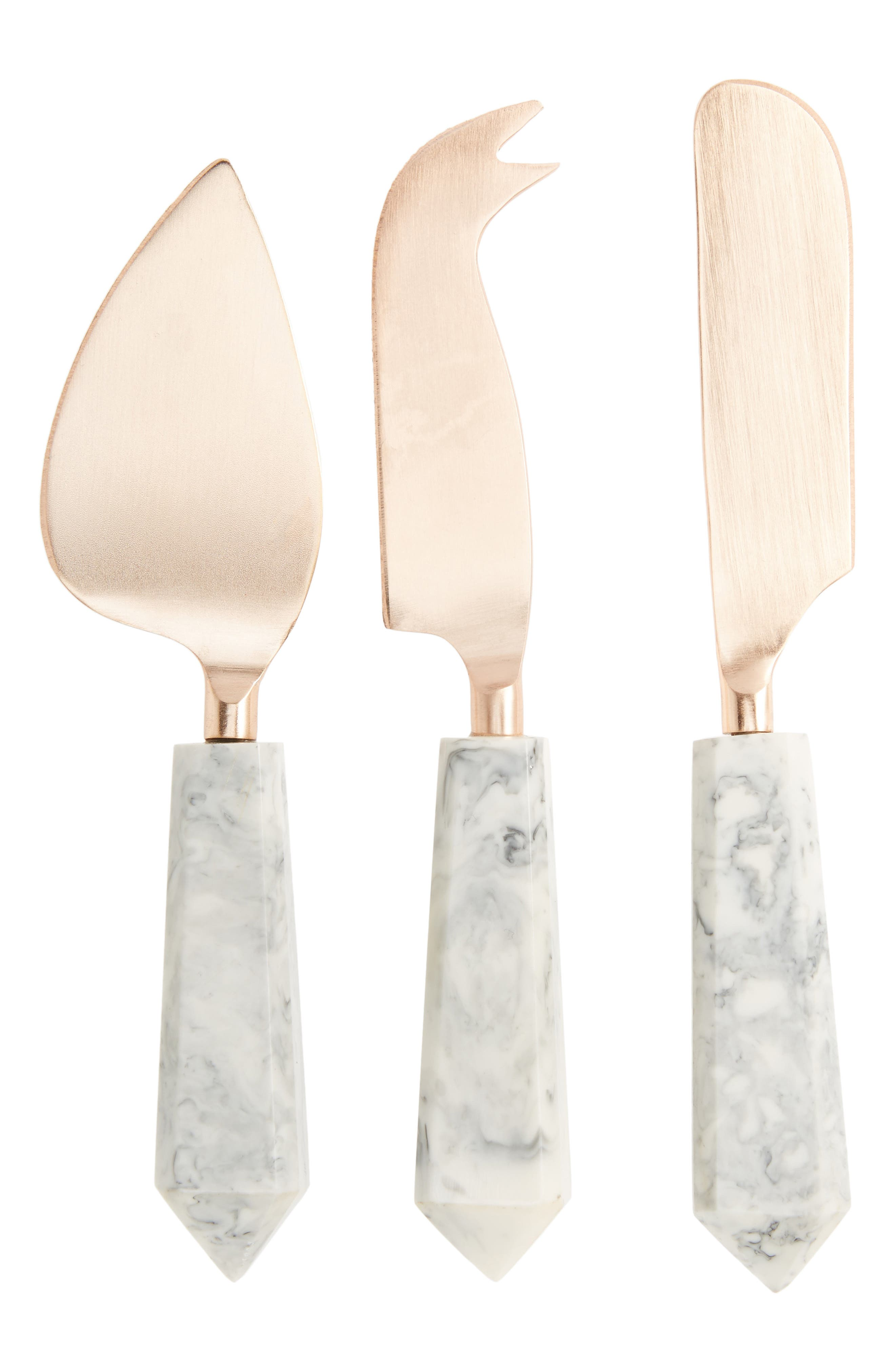Set of 3 Cheese Knives,                         Main,                         color, Copper