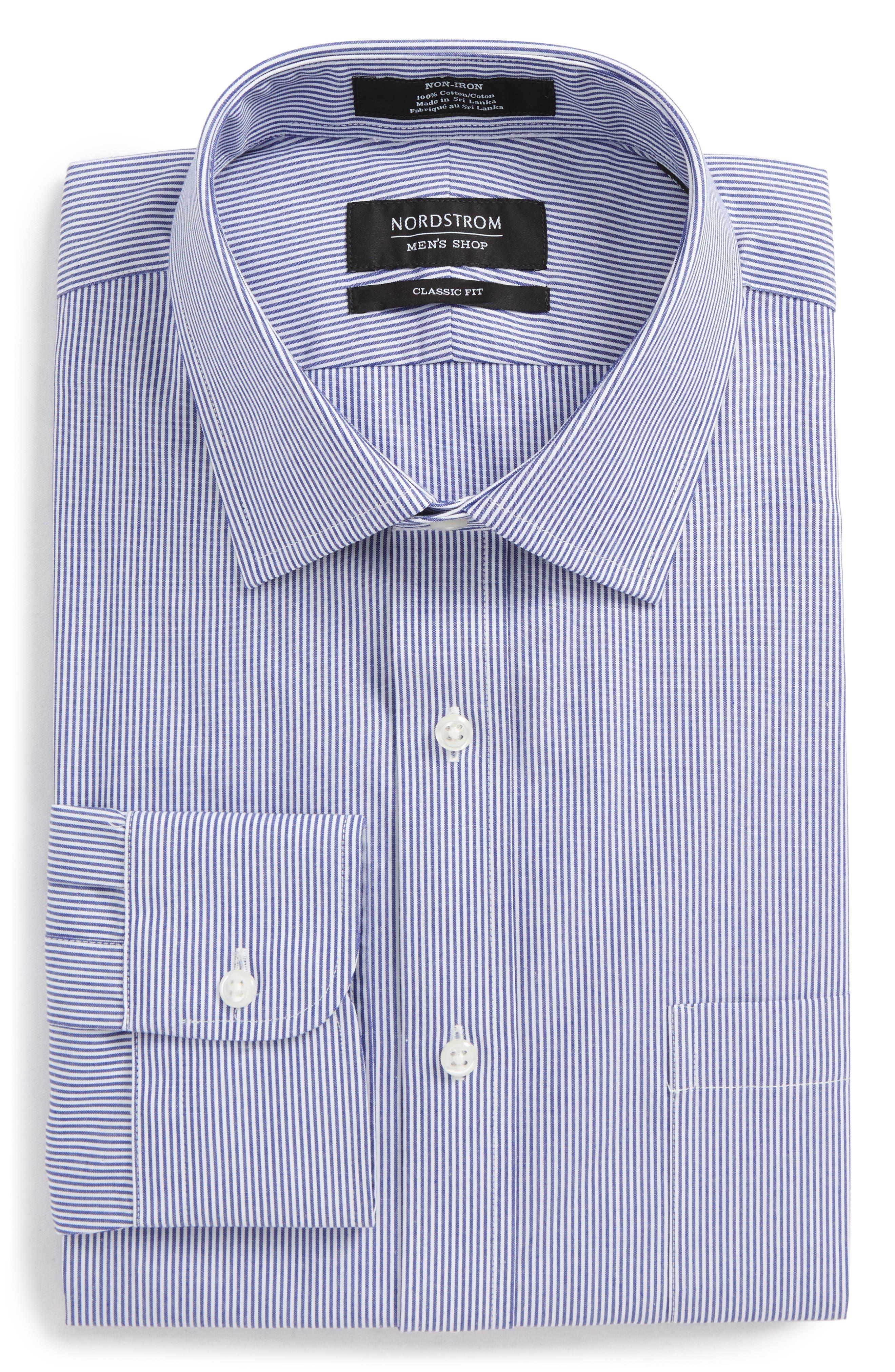 Classic Fit Non-Iron Stripe Dress Shirt,                             Alternate thumbnail 6, color,                             Navy Dusk