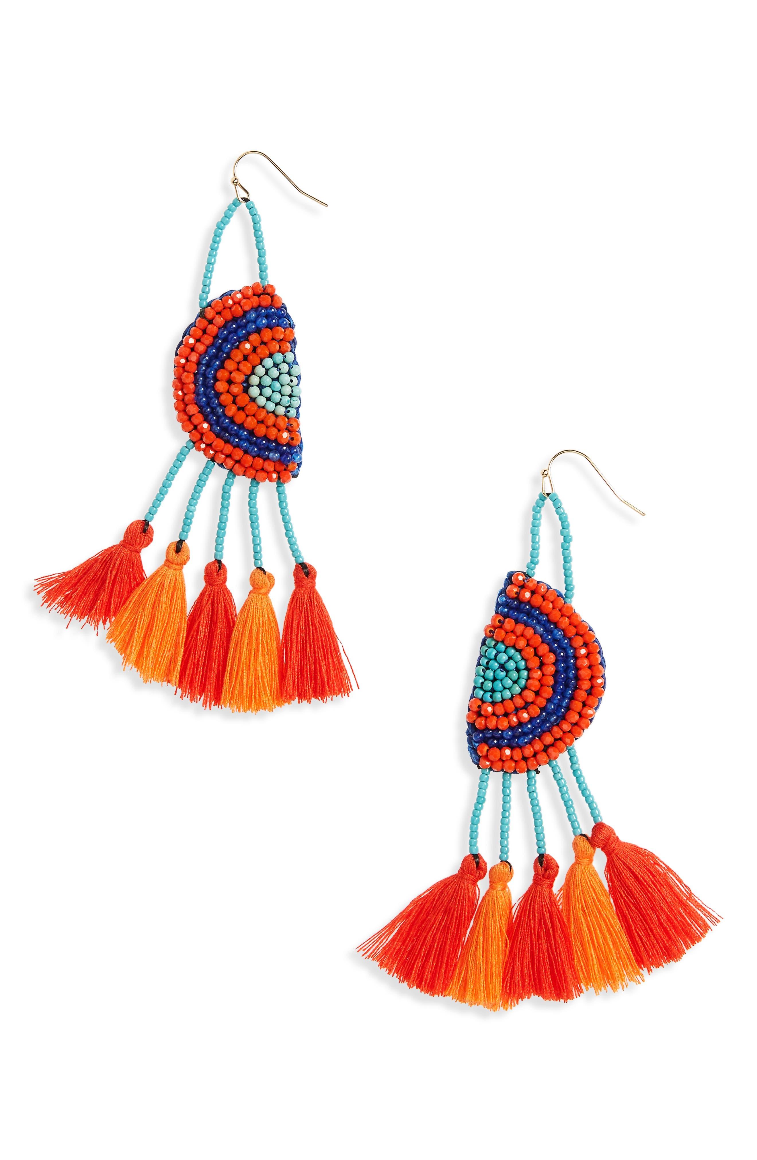 Tassel Drop Earrings,                         Main,                         color, Multi