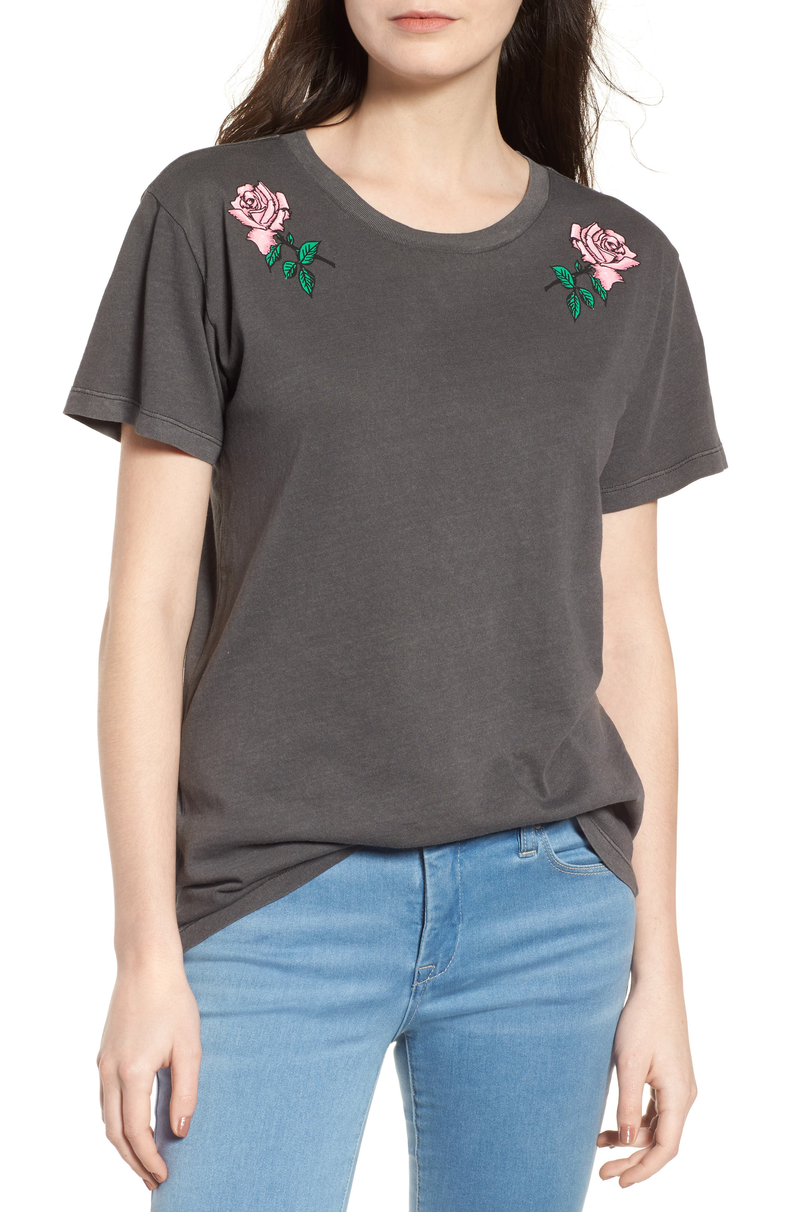 Boyfriend Graphic Tee,                             Main thumbnail 1, color,                             Rose Washed Black