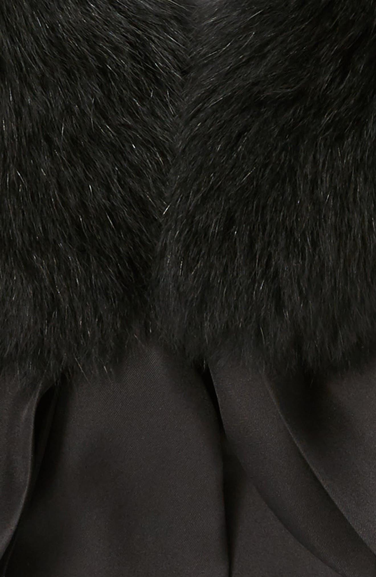 Cecilia Genuine Fox Fur Collar,                             Alternate thumbnail 4, color,                             Black