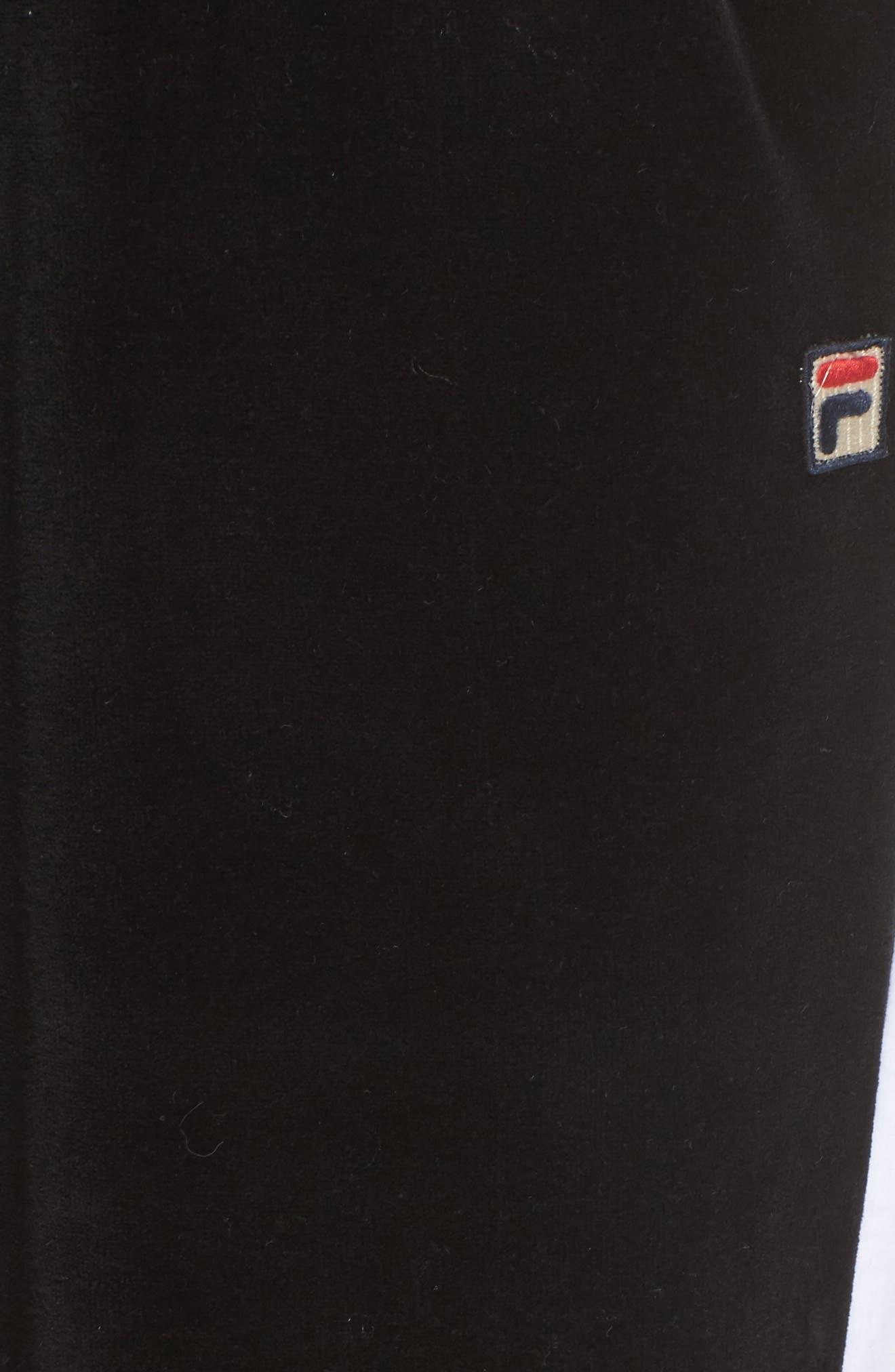 Bonnie Velour Track Pants,                             Alternate thumbnail 6, color,                             Black/ White