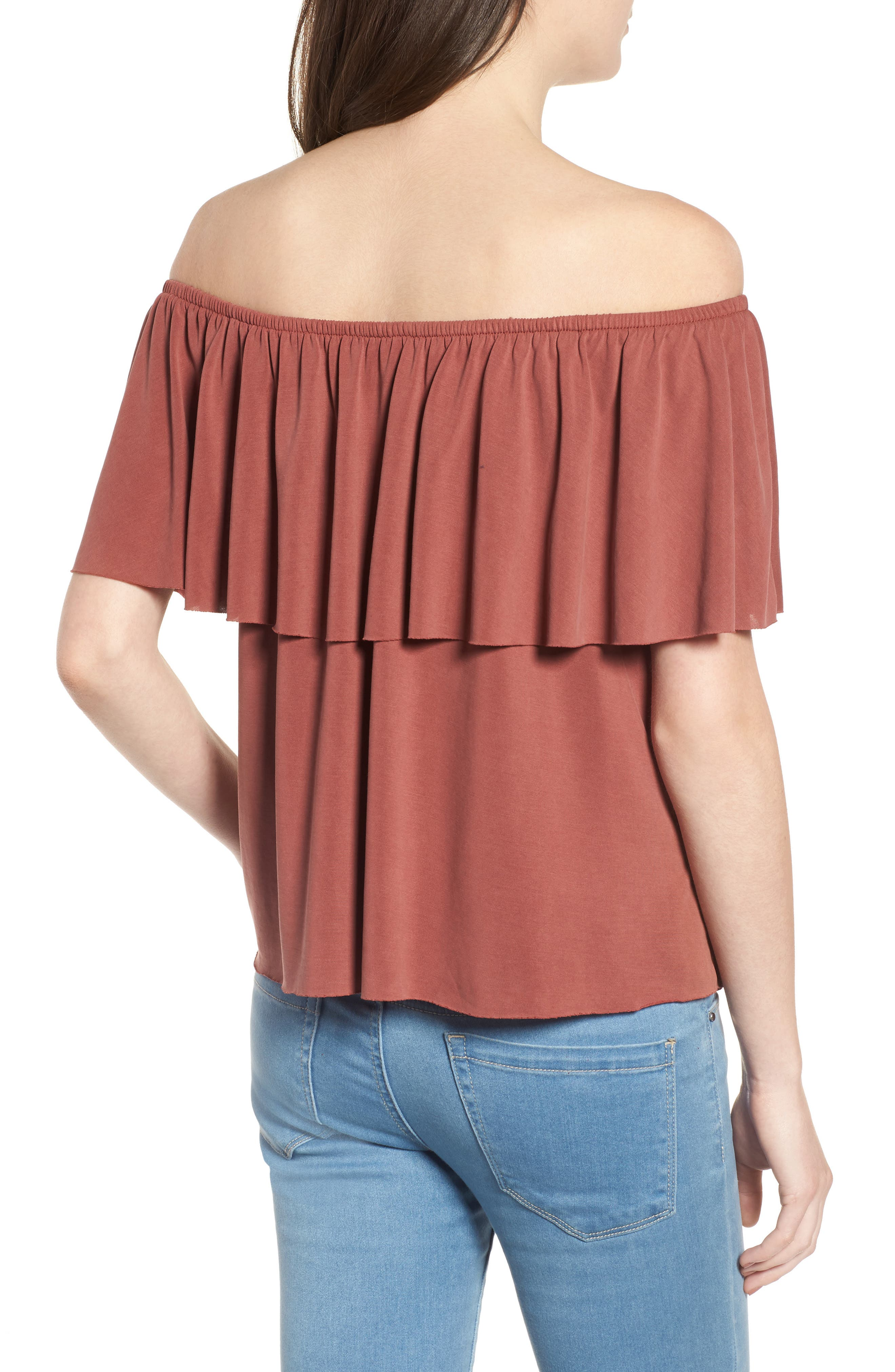 Naomi Off the Shoulder Top,                             Alternate thumbnail 5, color,                             Clay