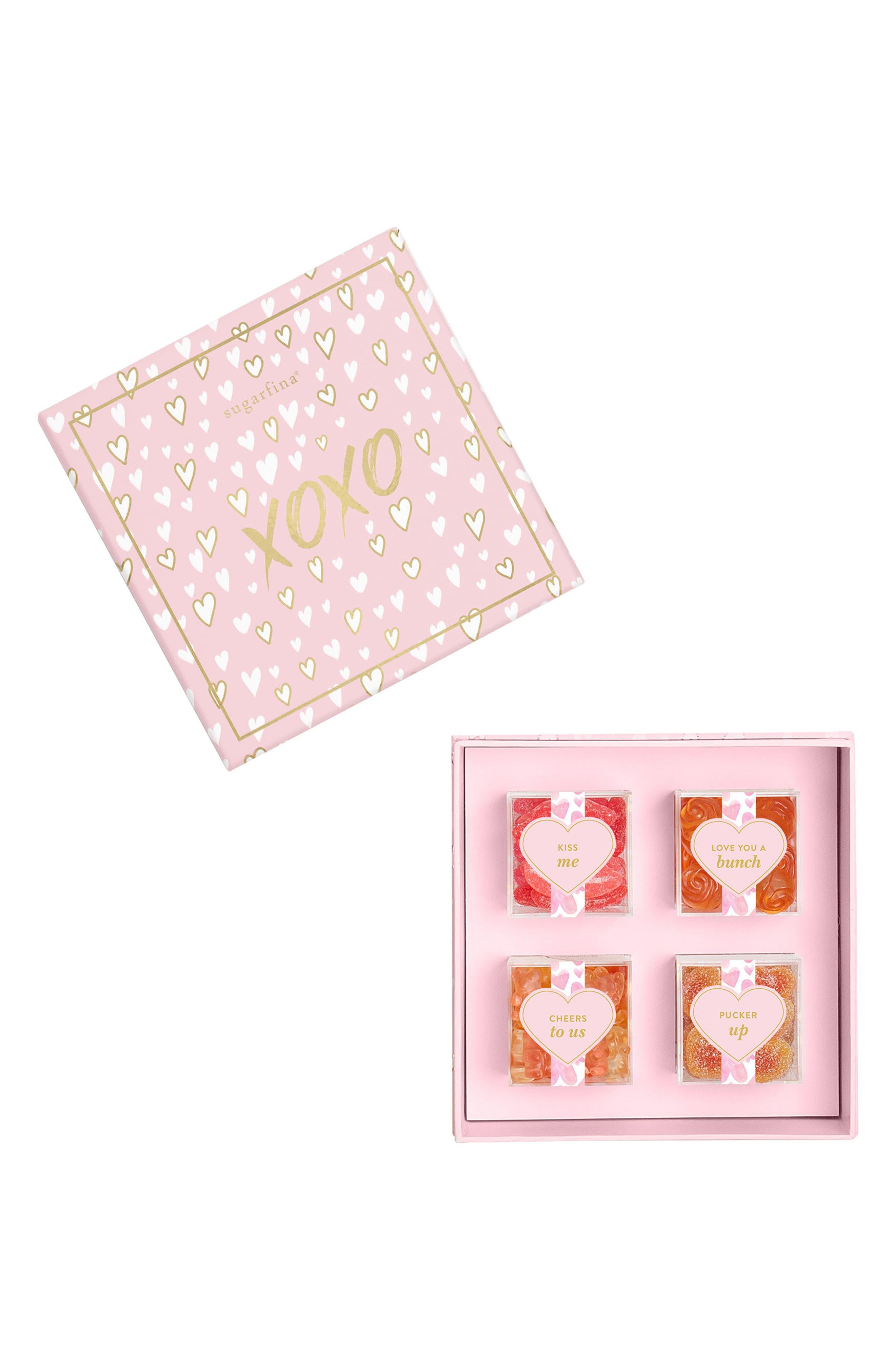 XOXO 4-Piece Candy Bento Box,                             Main thumbnail 1, color,                             Pink