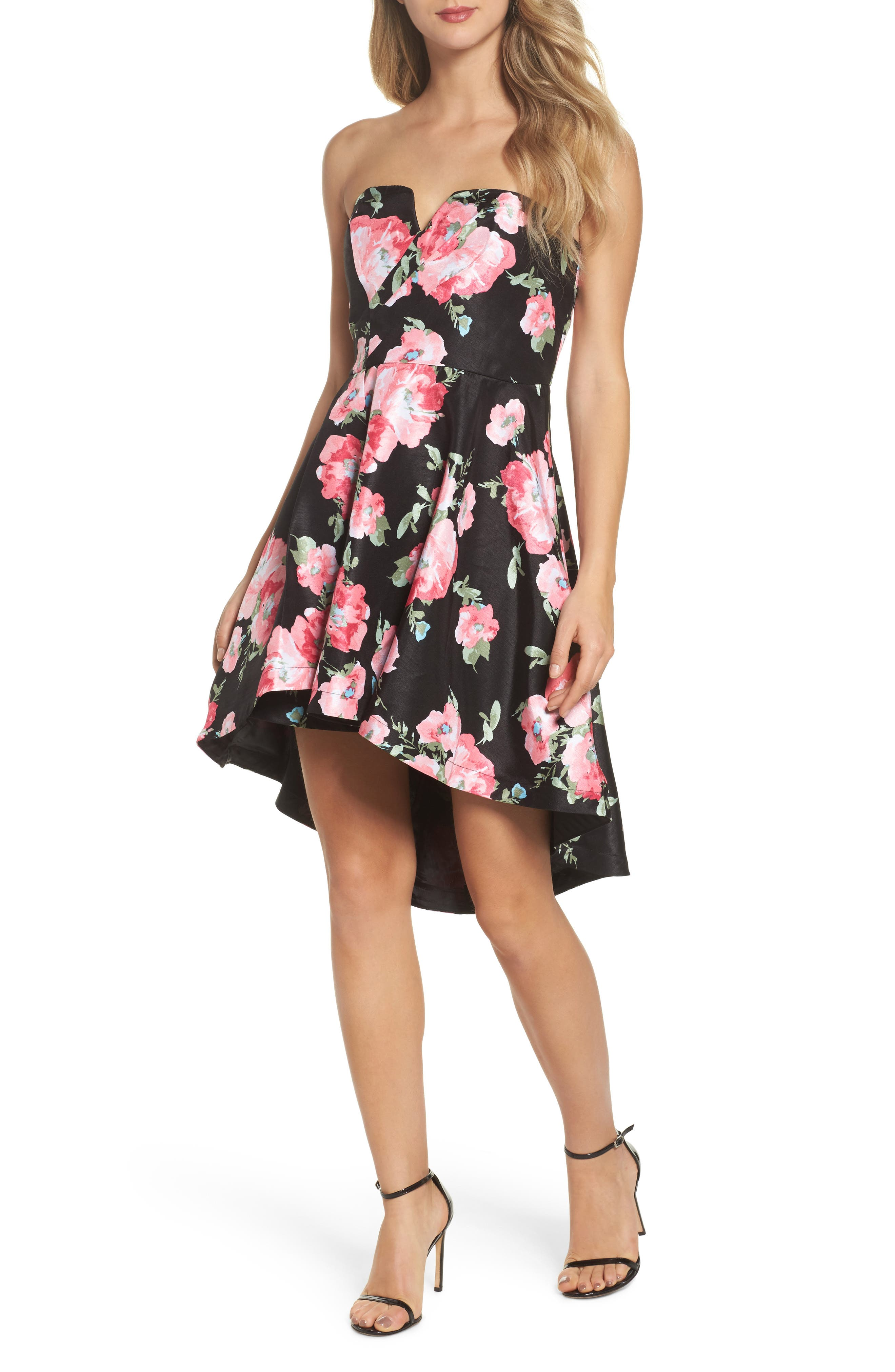 Floral High/Low Strapless Dress,                             Main thumbnail 1, color,                             Black/ Rose