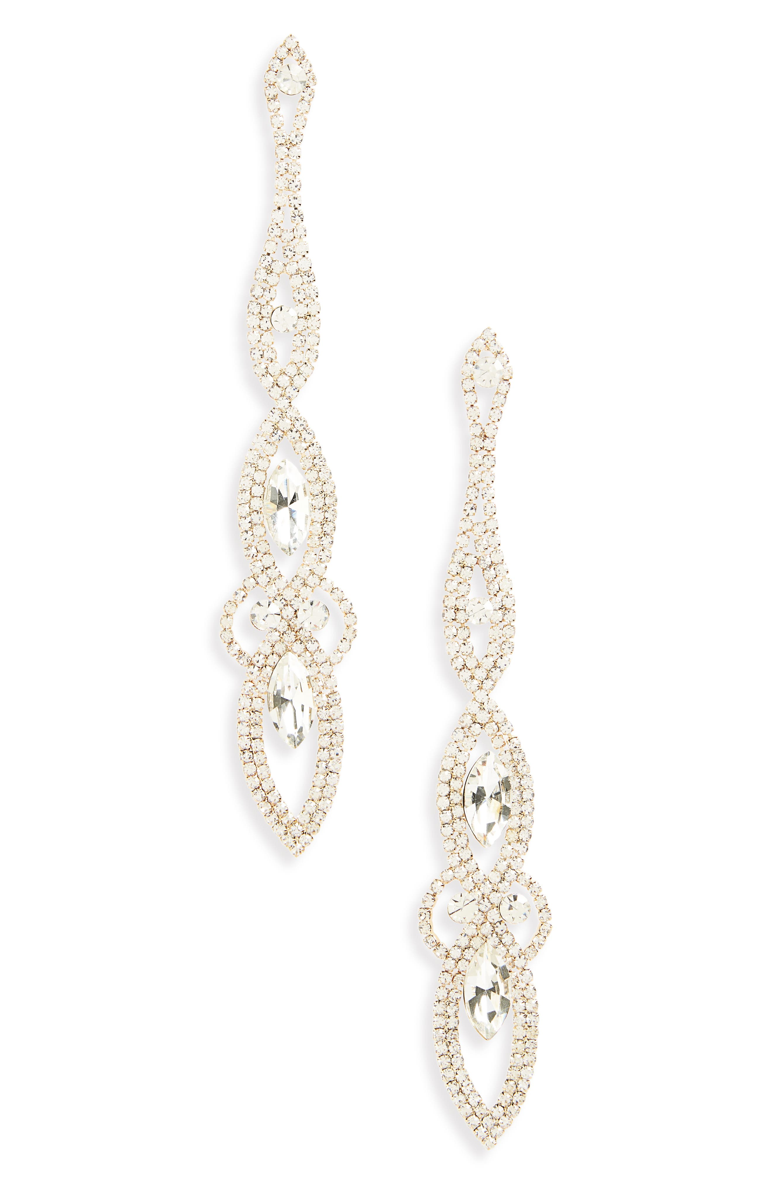 Long Crystal Statement Earrings,                             Main thumbnail 1, color,                             Gold/ Crystal