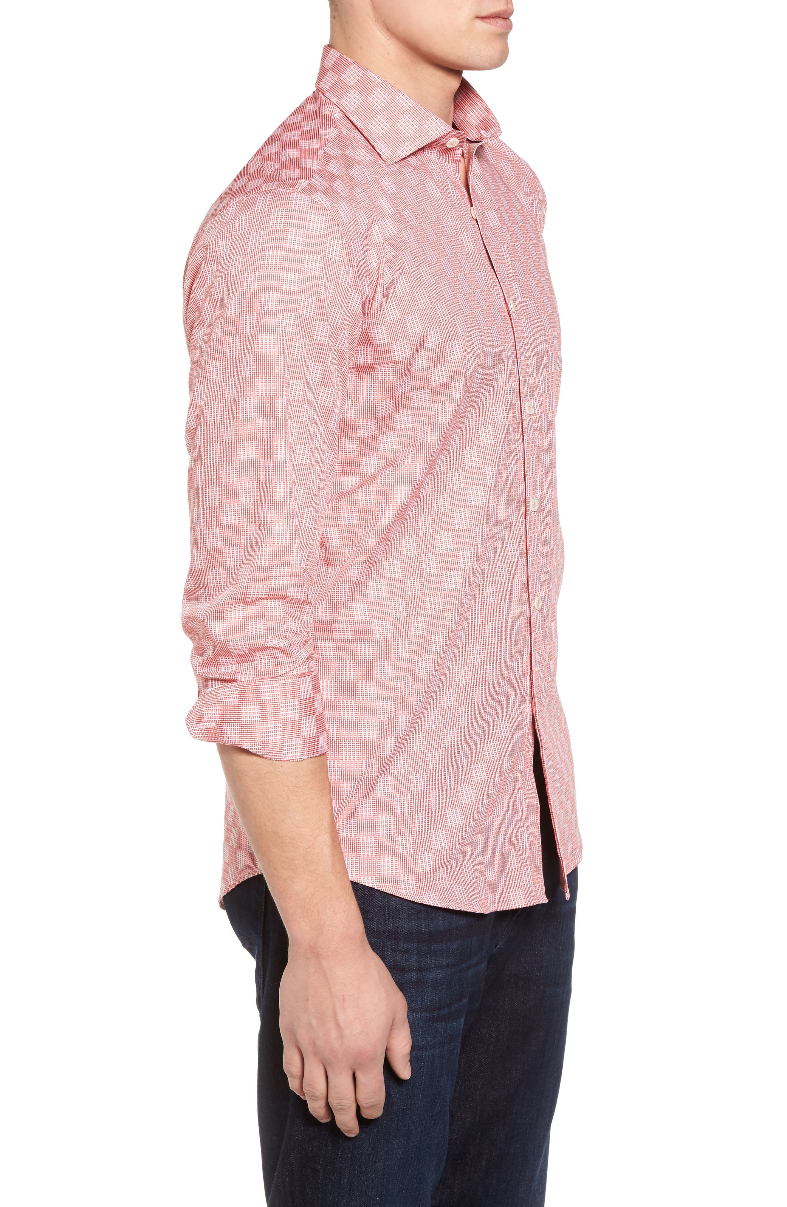 Shaped Fit Print Sport Shirt,                             Alternate thumbnail 3, color,                             Coral