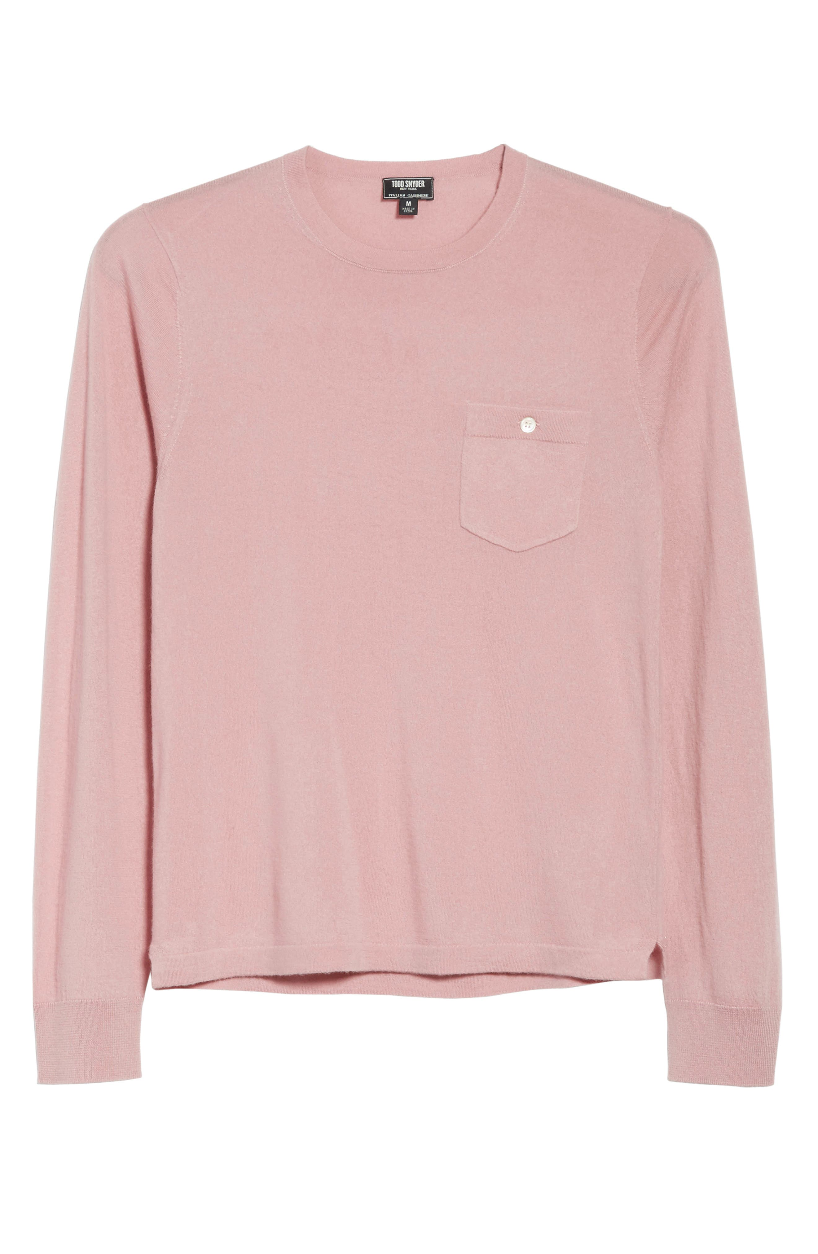 Cashmere Long Sleeve T-Shirt,                             Alternate thumbnail 6, color,                             Pink