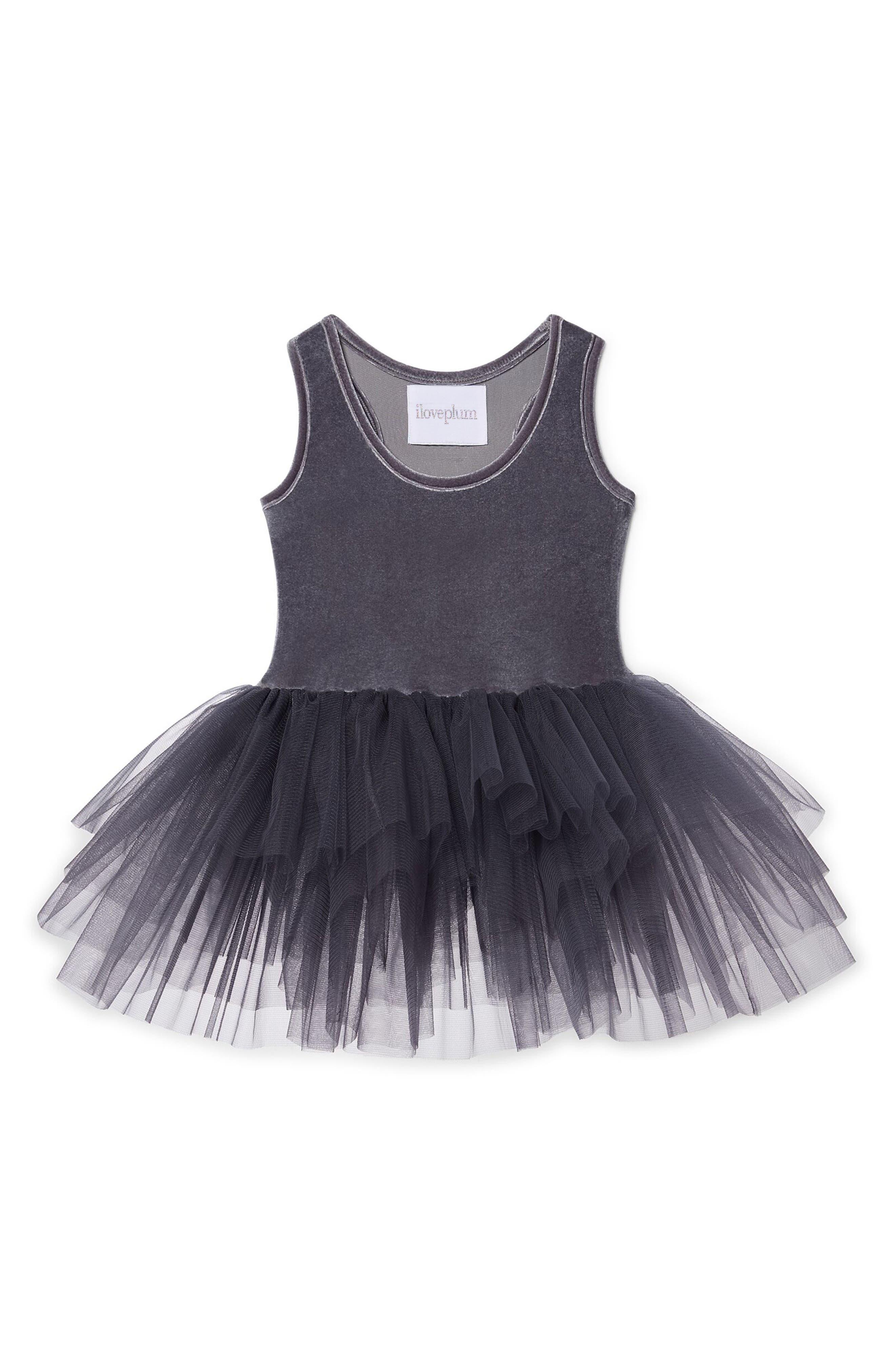 Velvet & Tulle Tutu Dress,                         Main,                         color, Grey