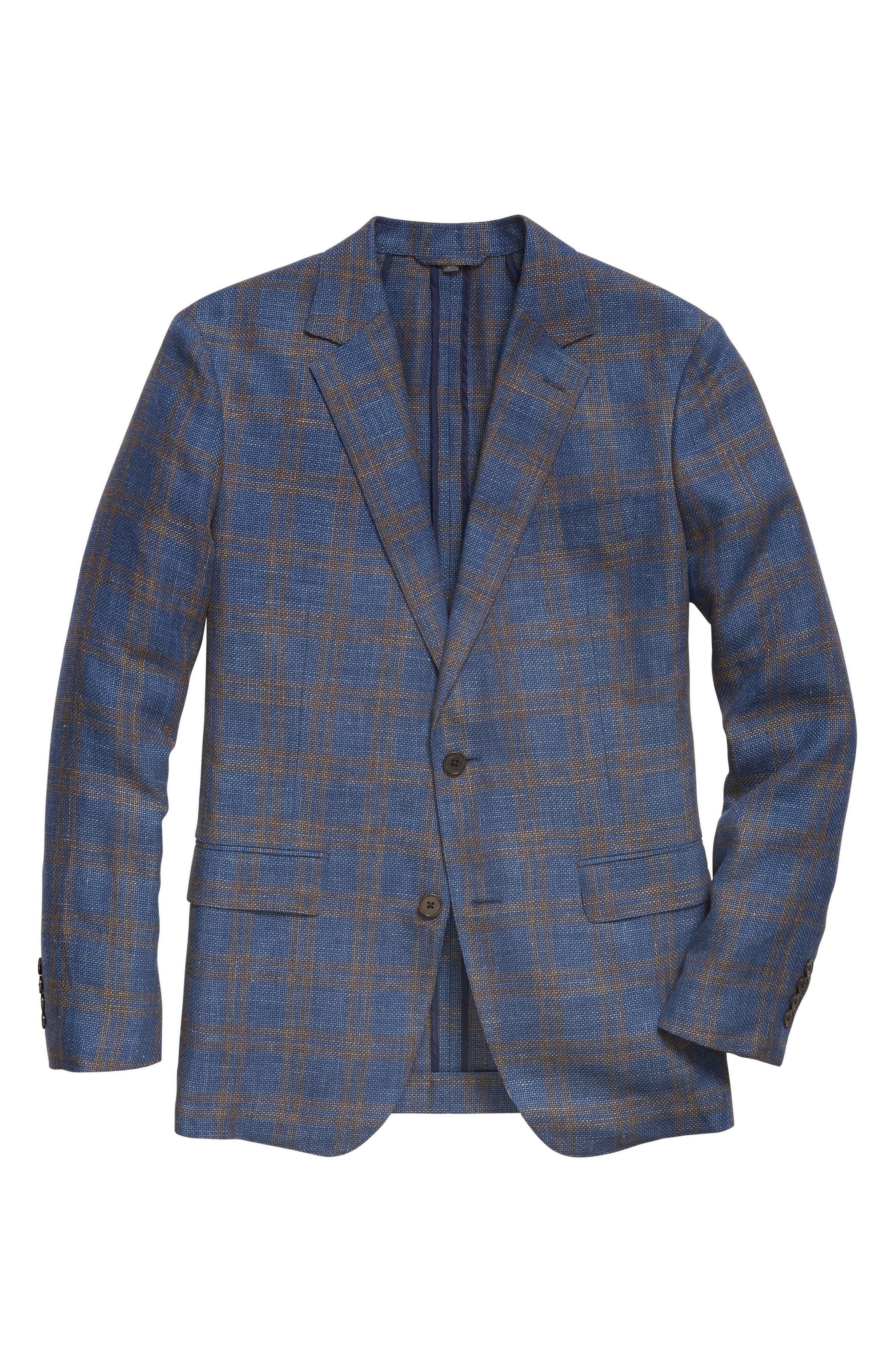 Slim Fit Plaid Linen Blend Unconstructed Blazer,                             Alternate thumbnail 5, color,                             Gold Blue Plaid